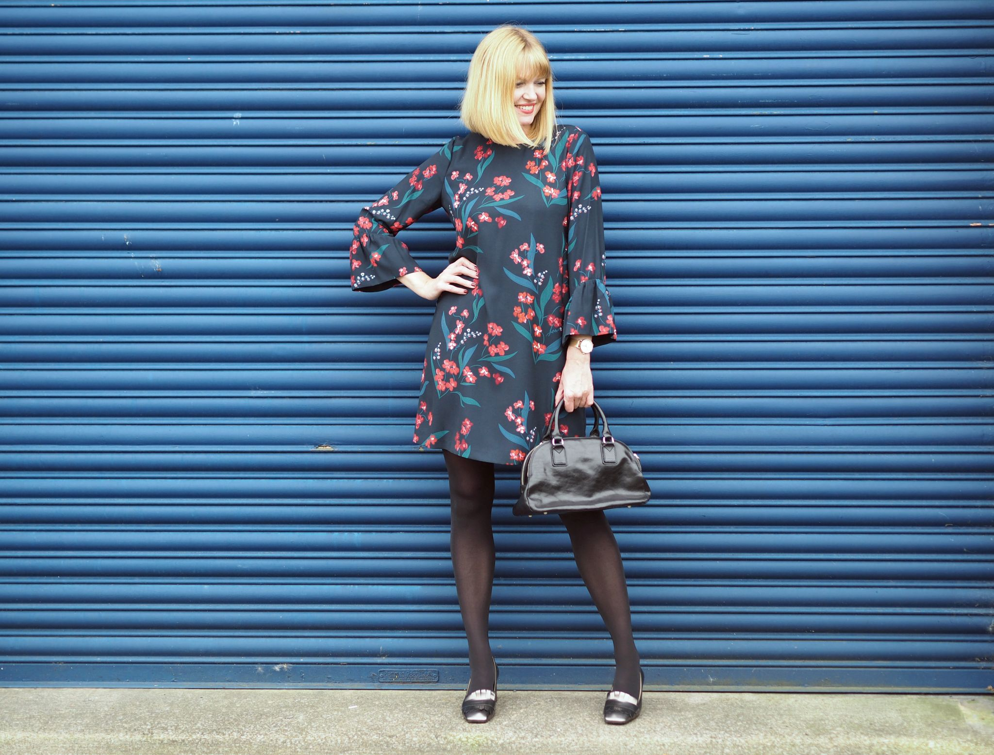 what-lizzy-loves-desk-dinner-floral-tunic-dress-hobbs-over-40-collectives-metallic-loafers