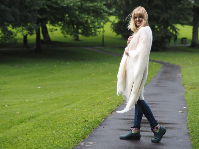 what-lizzy-loves-cream-mohair-serape-jeans-short-wellies-muck-boots-over-40