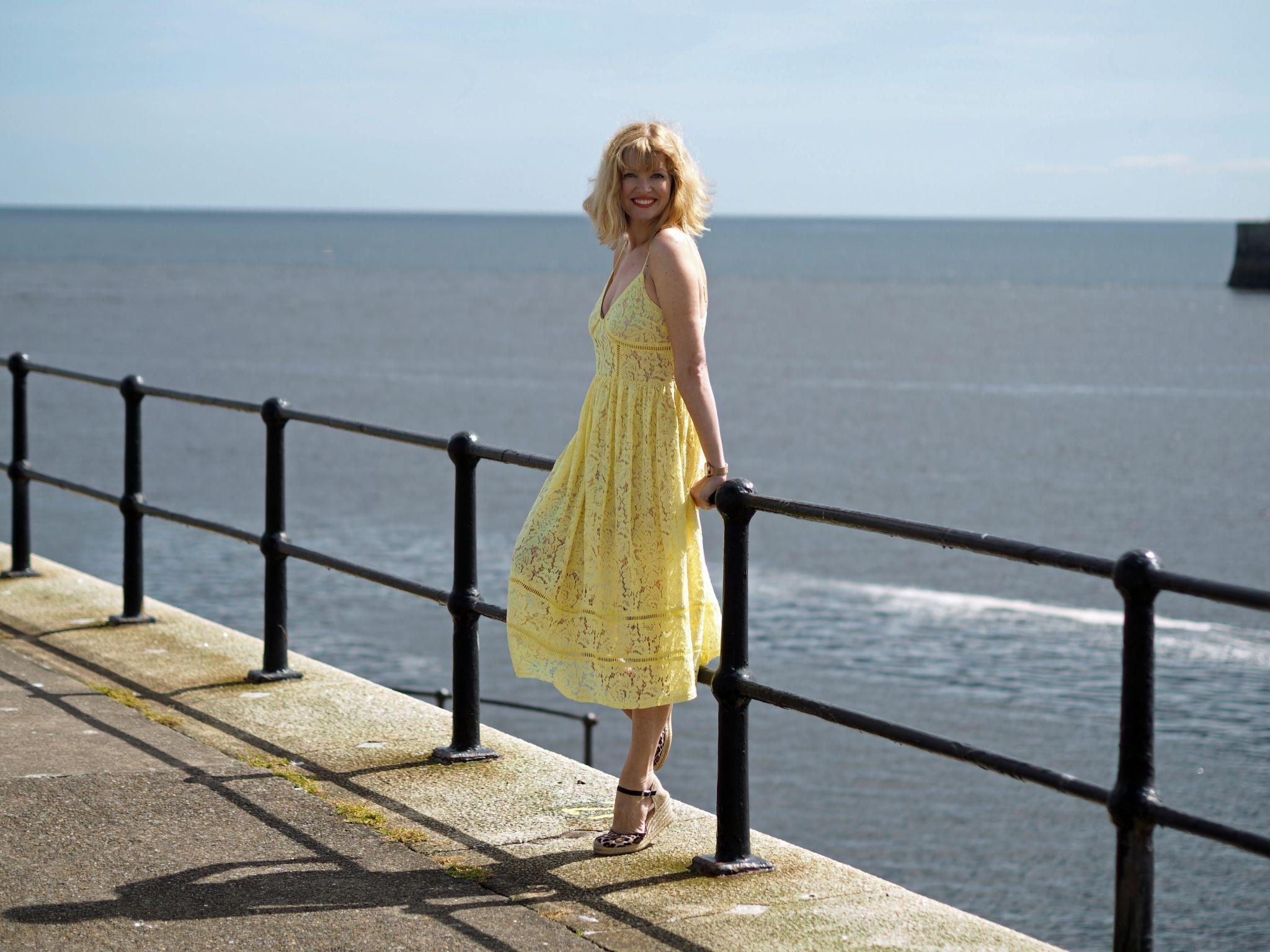 yellow-lace-midi-dress-leopard-espadrilles-pier
