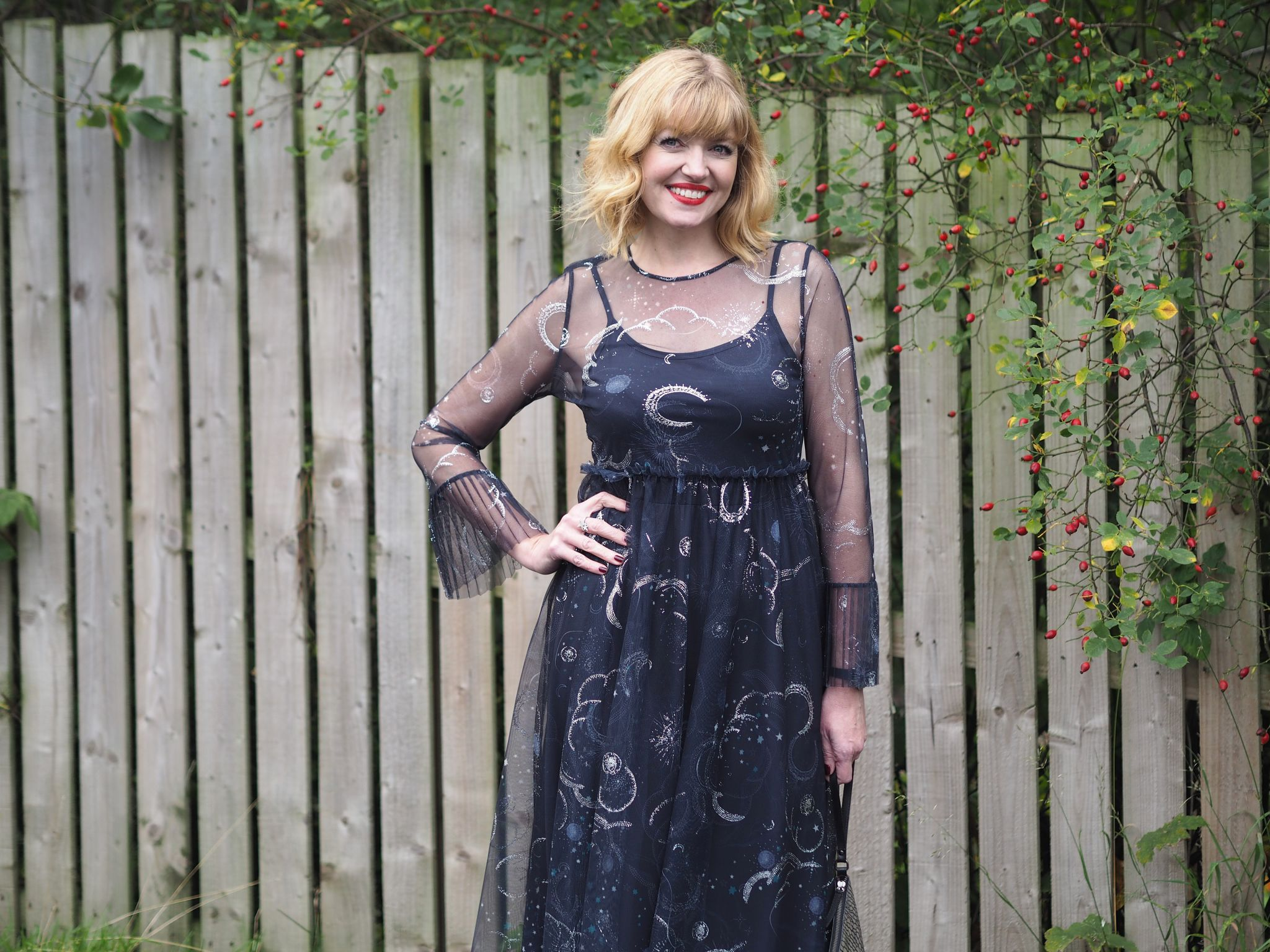 what lizzy loves marks and spencer constellation midi dress birthday outfit details