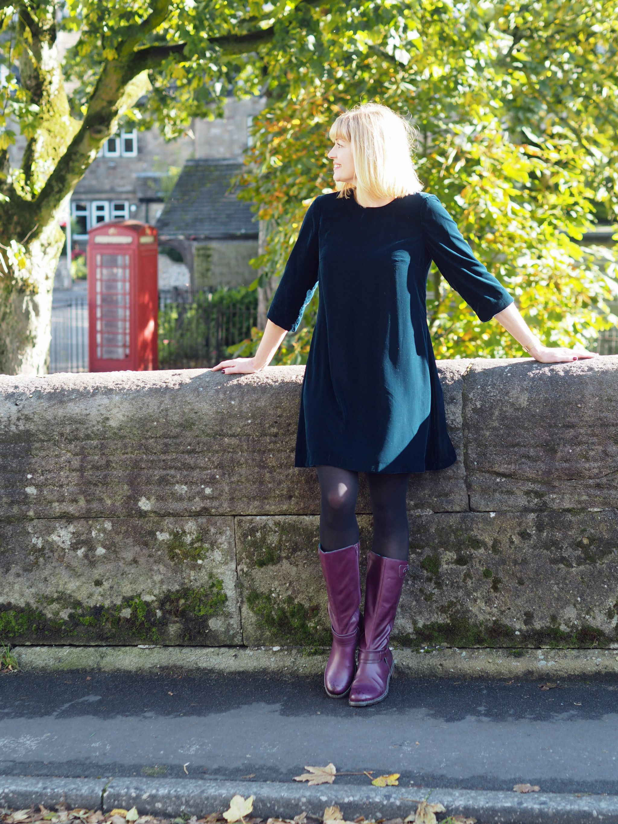 4d80760b8ae what lizzy loves purple knee high leather boots teal velvet swing dress Pin  this image on Pinterest