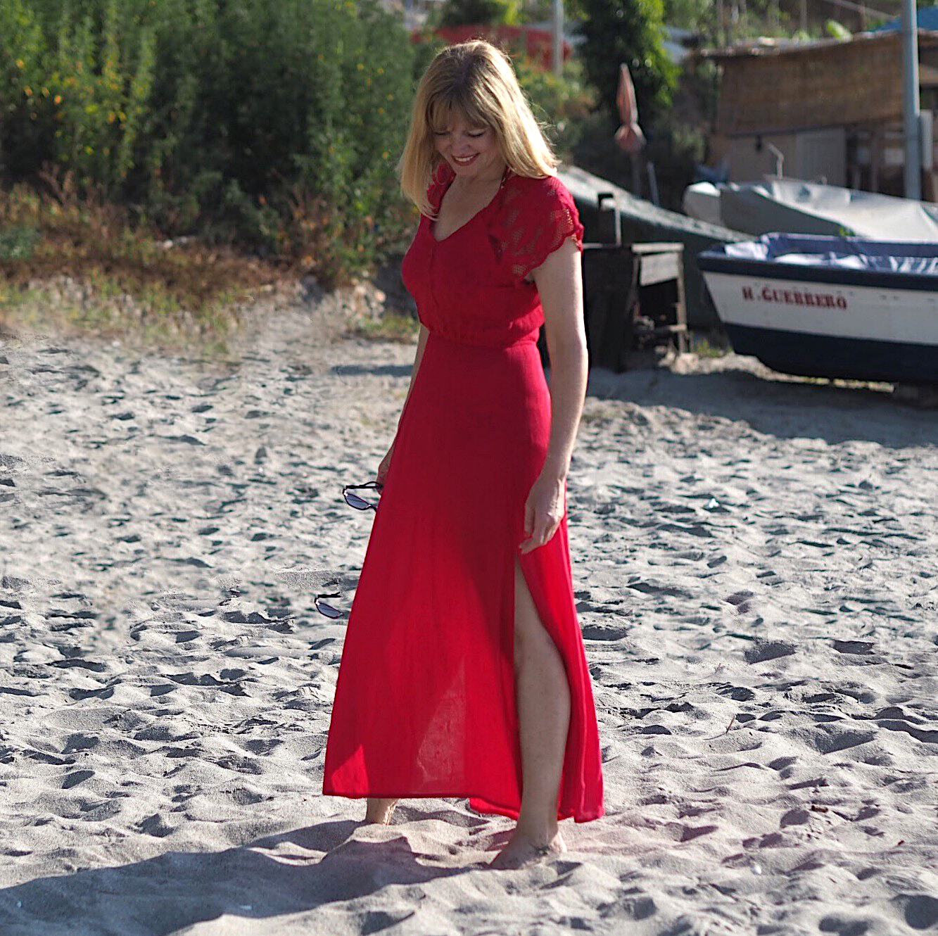 what-lizzy-loves-over-40-blogger-red-beach-dress-nerja-spain