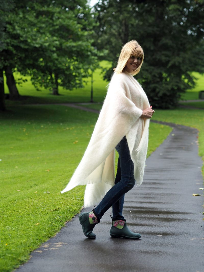 what-lizzy-loves-cream-mohair-serape-jeans-short-wellies-muck-boots-side-view