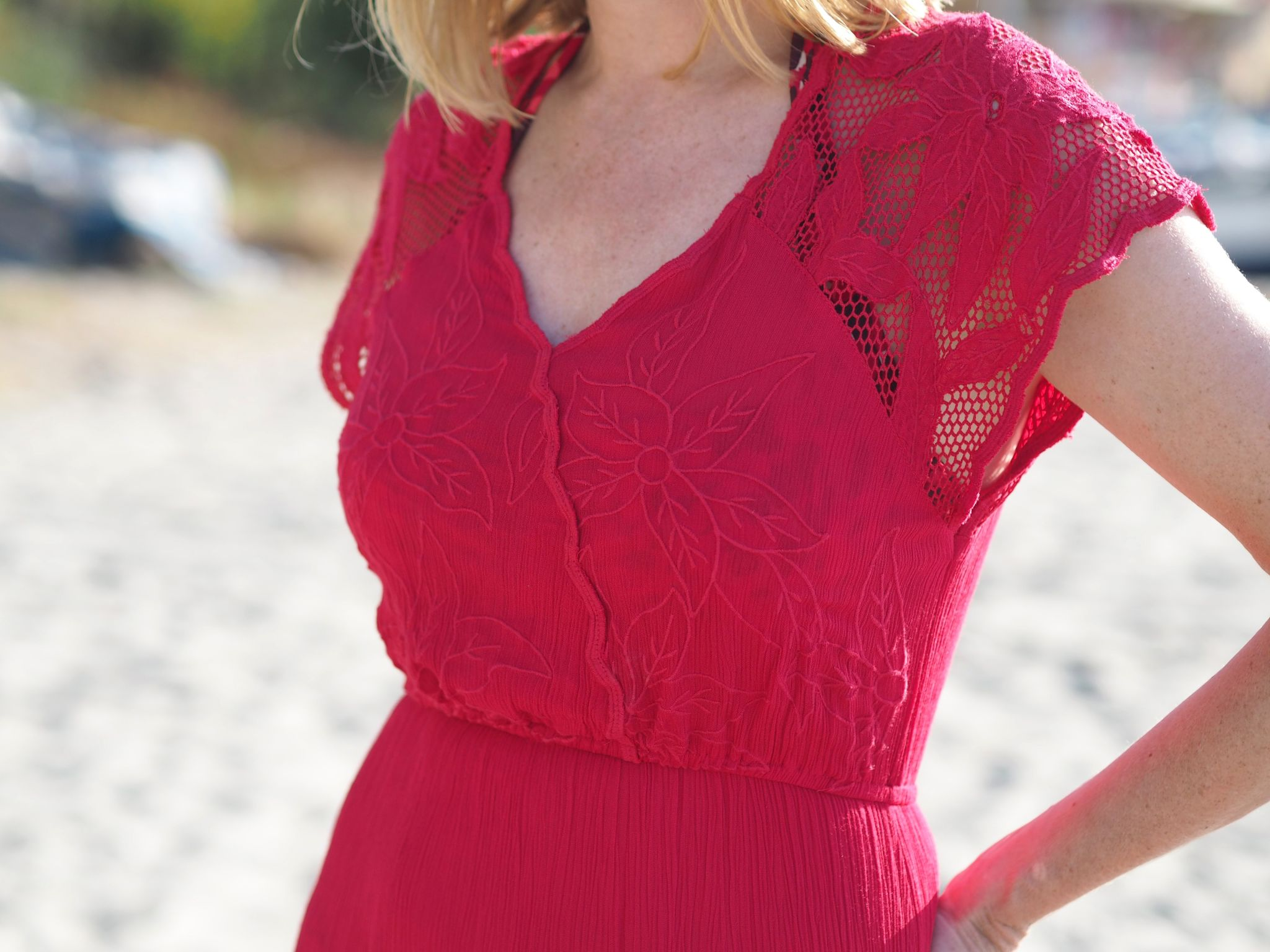 what-lizzy-loves-over40-blogger-red-long-beach=dress-cover-up-maxi-nerja-spain