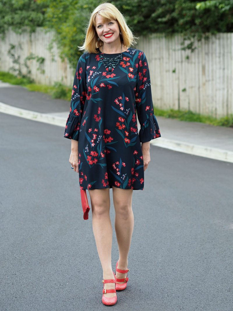 what-lizzy-loves-hobbs-desk-to-dinner-floral-dress-orange-shoes-clutch