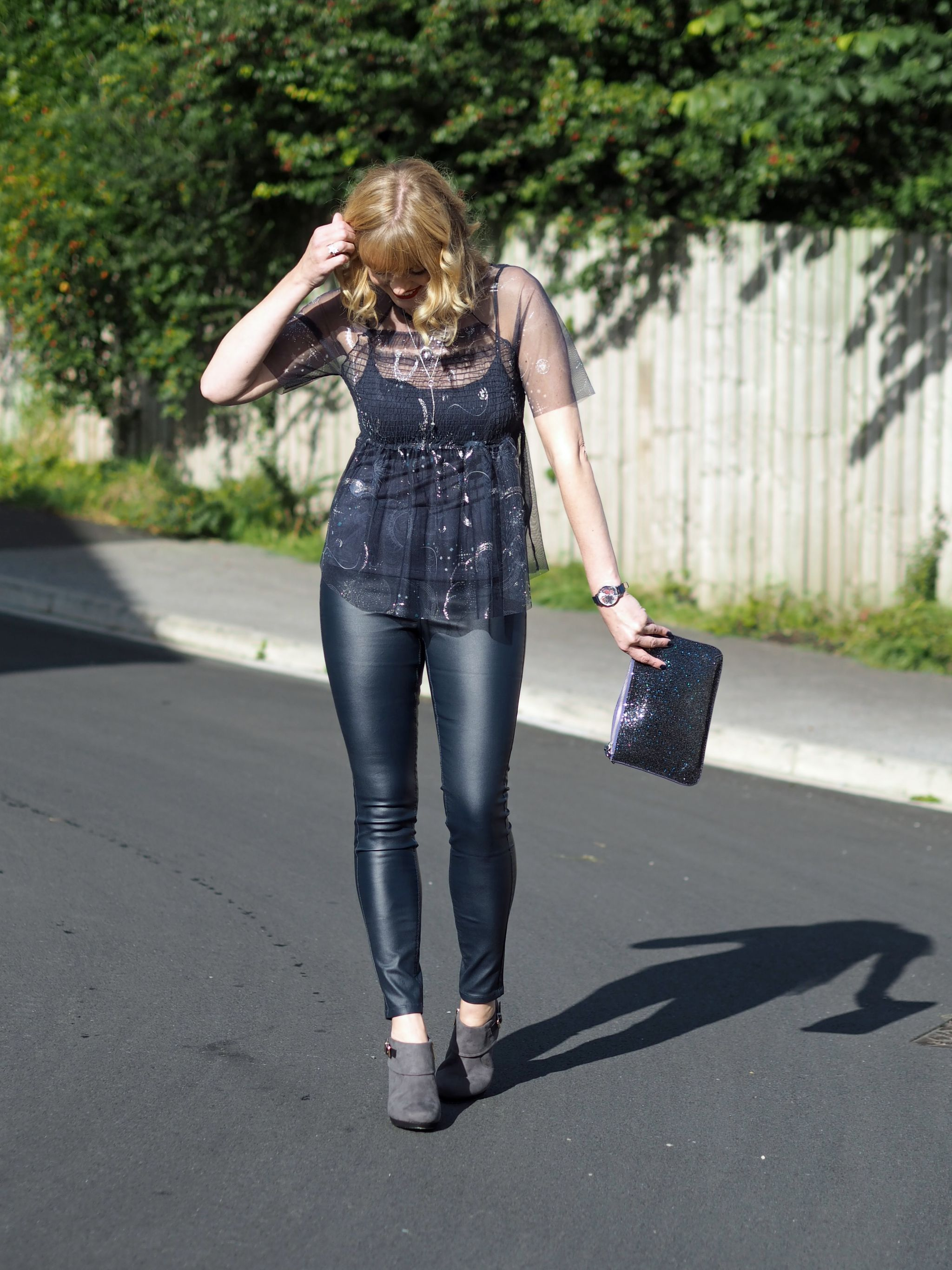 what-lizzy-loves-coated-skinnies-leggings-high-heeled-ankle-boots-constellation-top-glitter-clutch