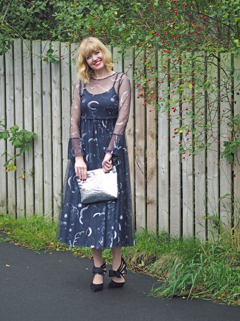 what lizzy loves marks and spencer constellation midi dress birthday outfit