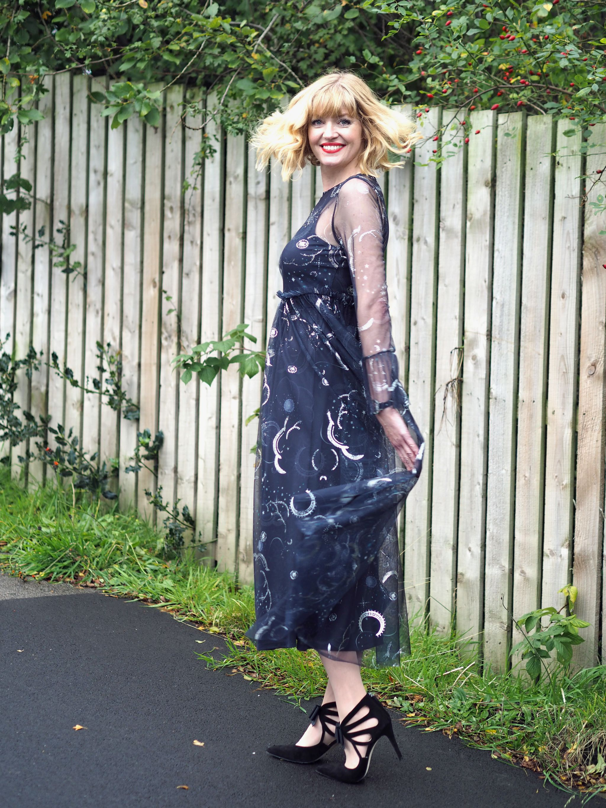 what lizzy loves marks and spencer constellation midi dress birthday outfit black bow shoes