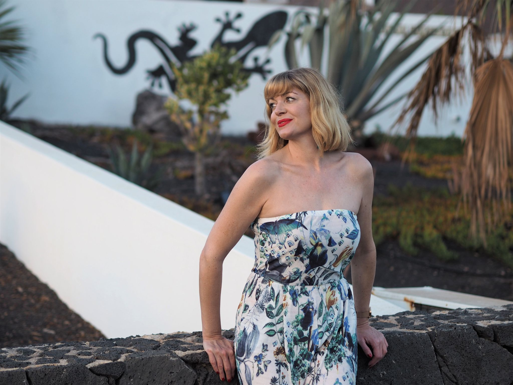 what lizzy loves white floral jumpsuit cullottes Lanzarote