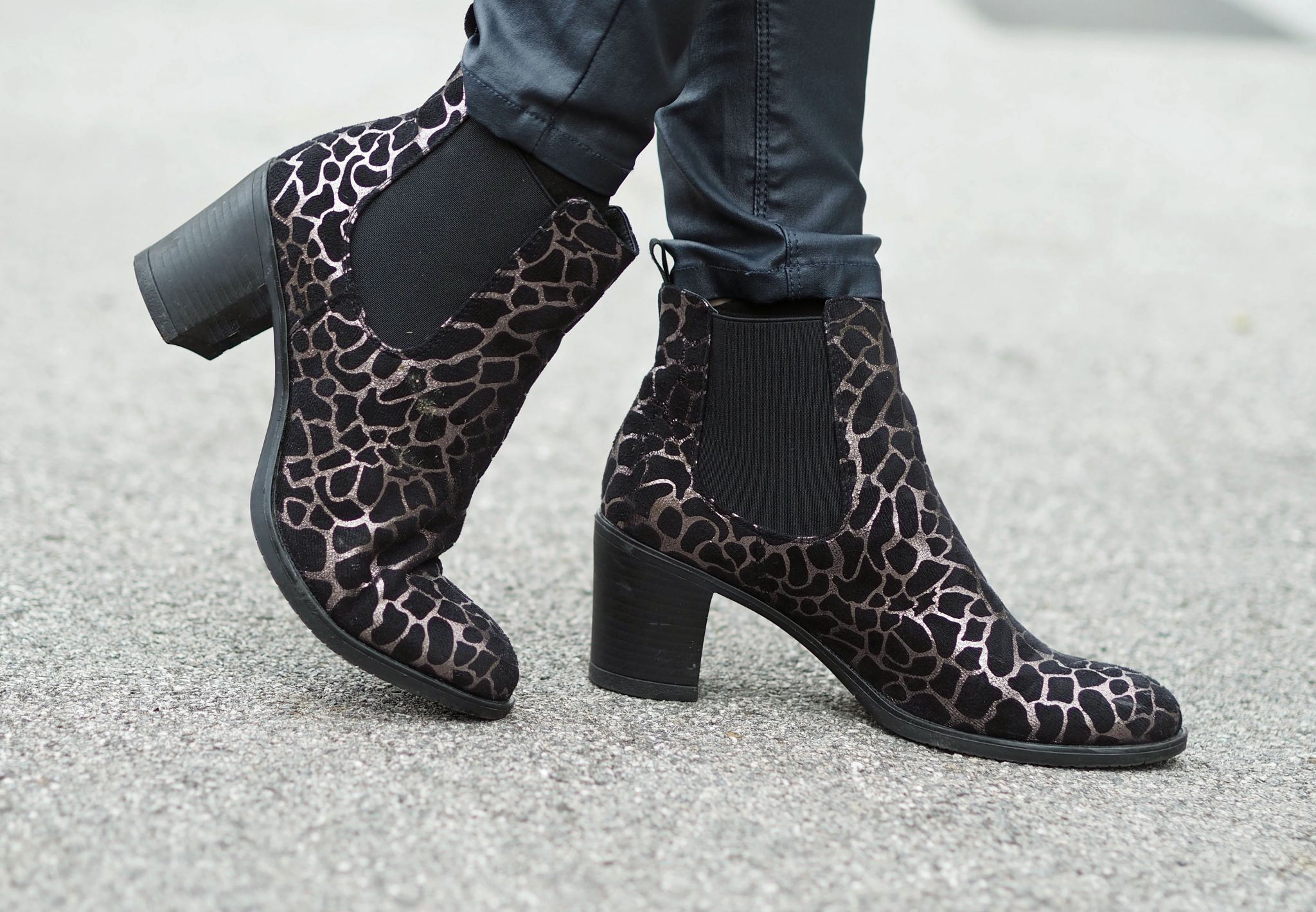 what lizzy loves metallic leopard boots