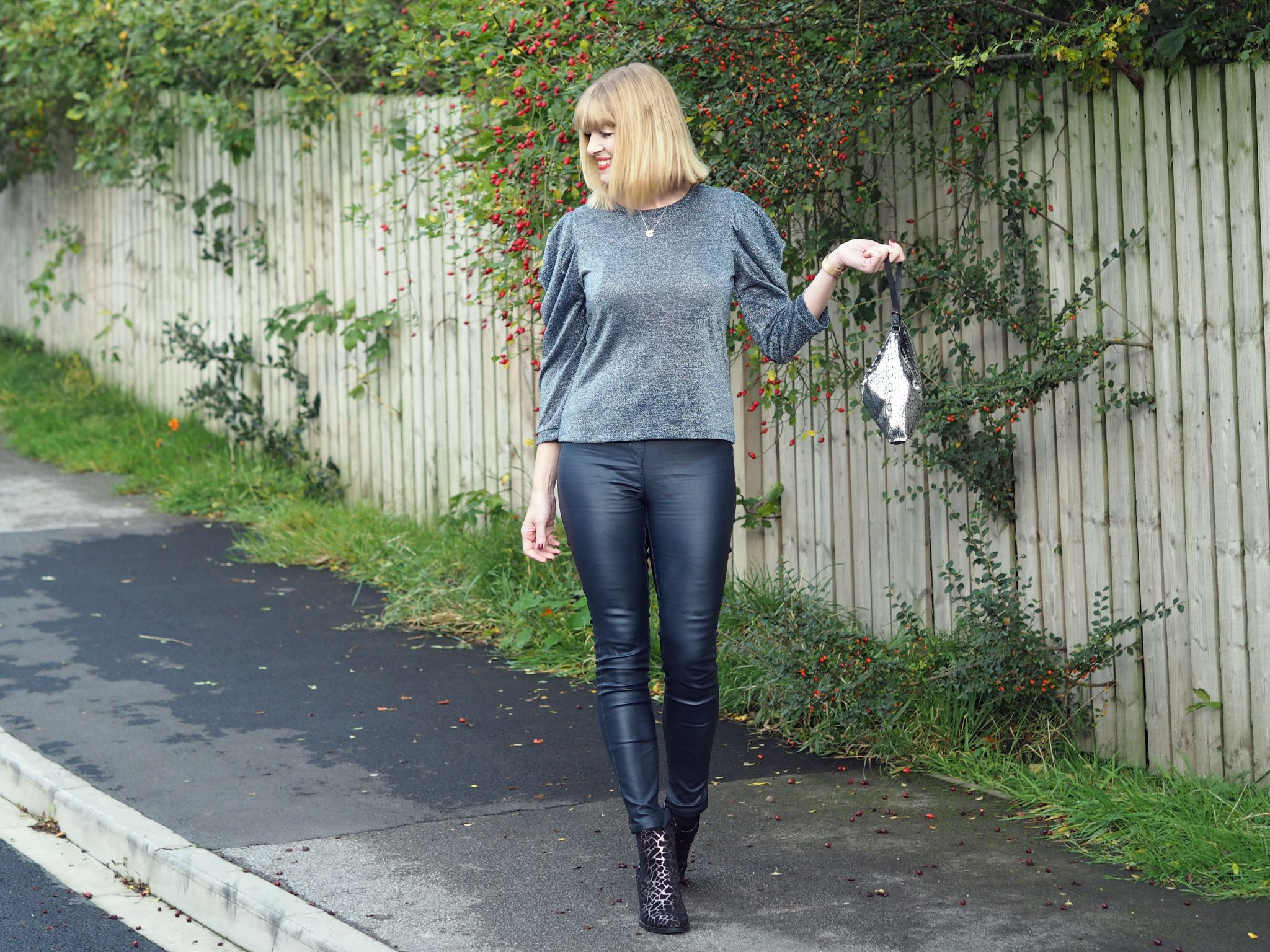 what lizzy loves metallic top coated skinnies leopard boots bag
