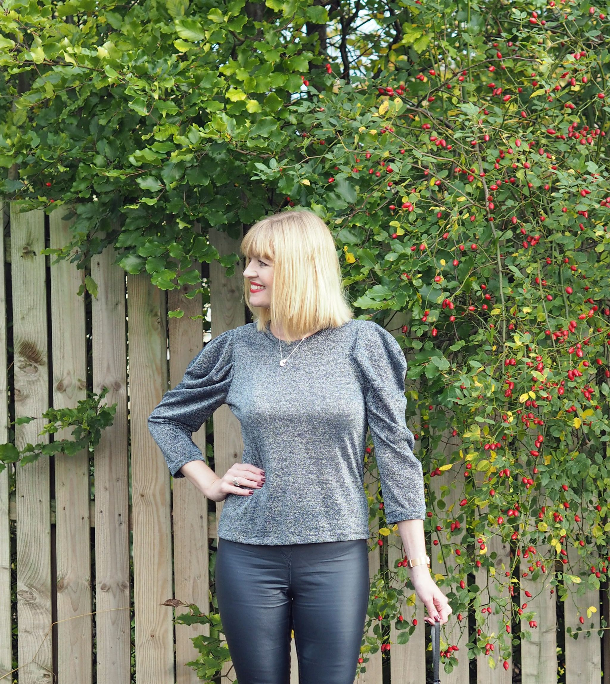 what lizzy loves metallic top puffed sleeves