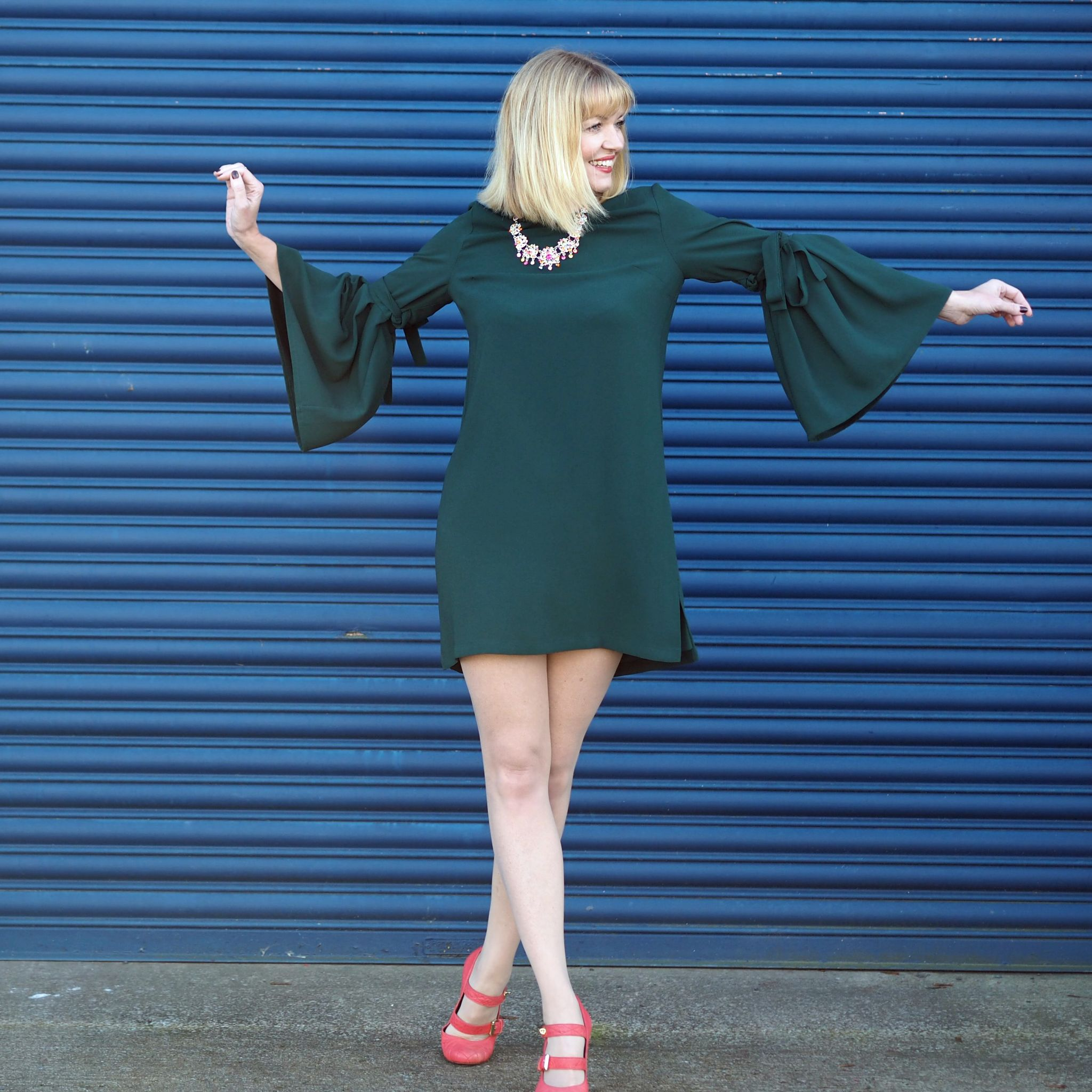 What Lizzy Loves easy Christmas party look green dress rainbow Swarovski crystal jewellery