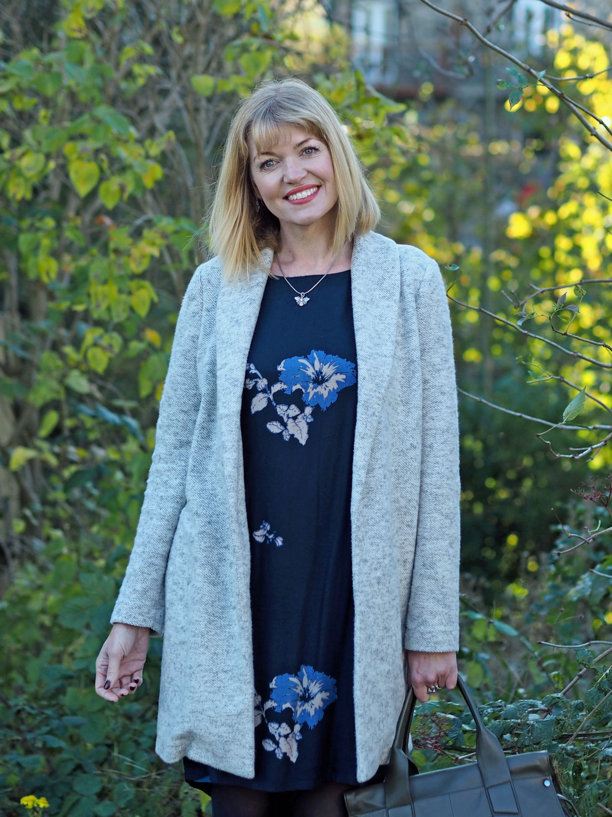 Floral Tunic Dress, Leopard Print Boots And Bee Jewellery.