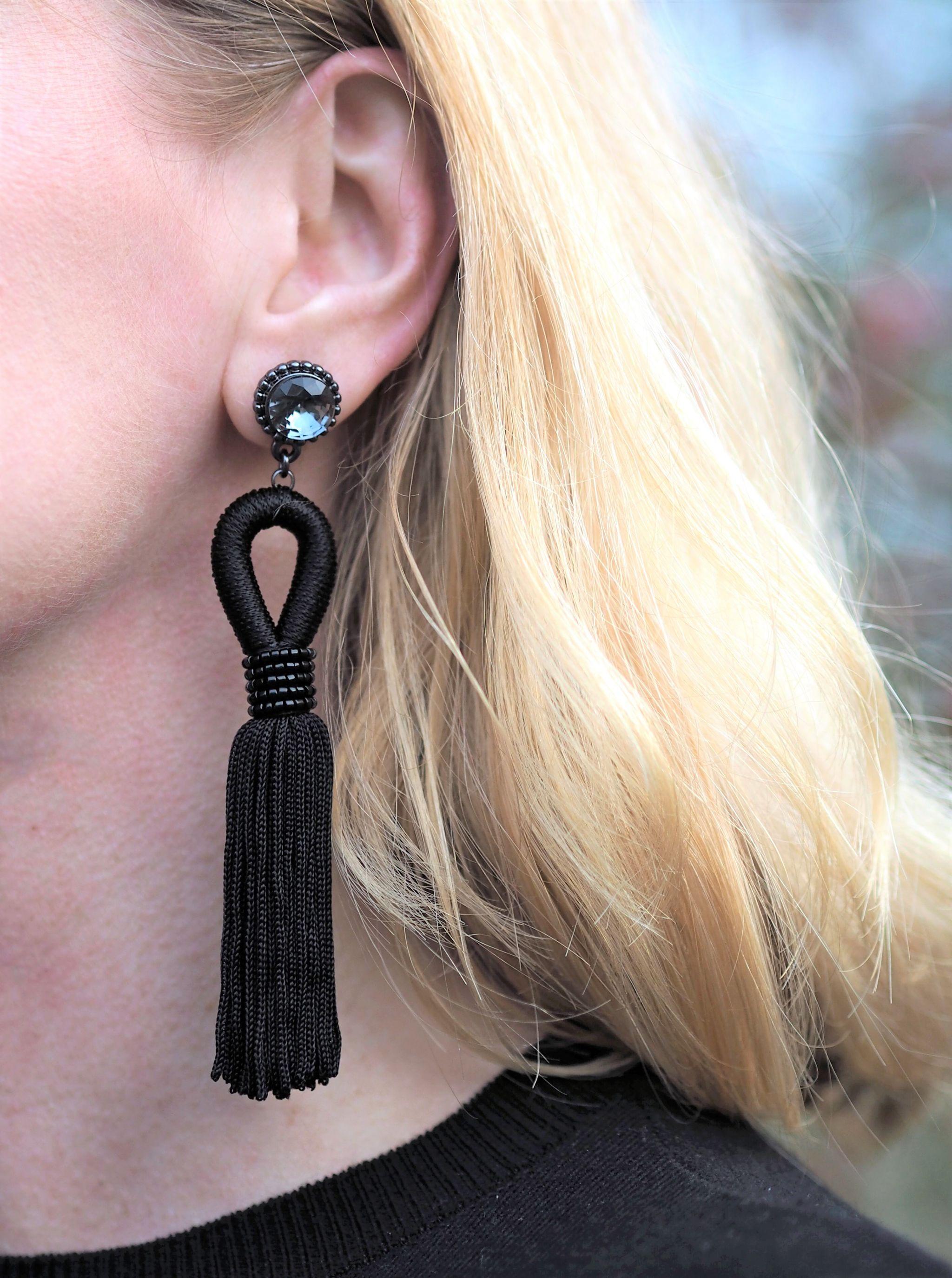 what lizzy loves denaelion embrpidered jumper black tassel earrings