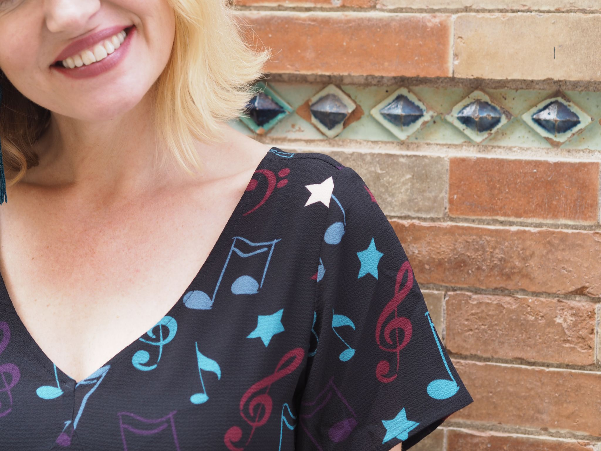 What Lizzy Loves Malaga in November musical note jumpsuit