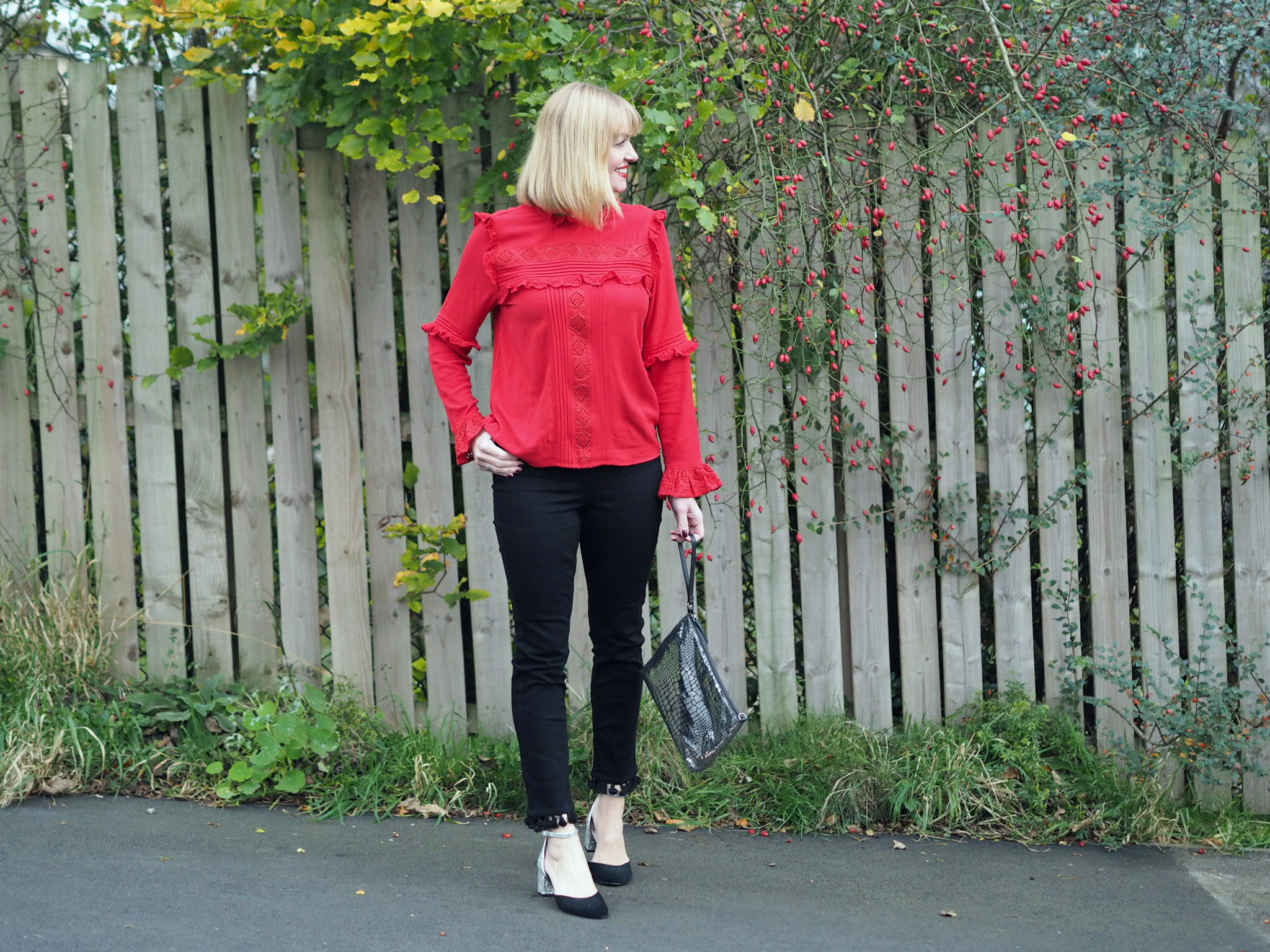 what lizzy loves black pom pom jeans red ruffle blouse glitter shoes