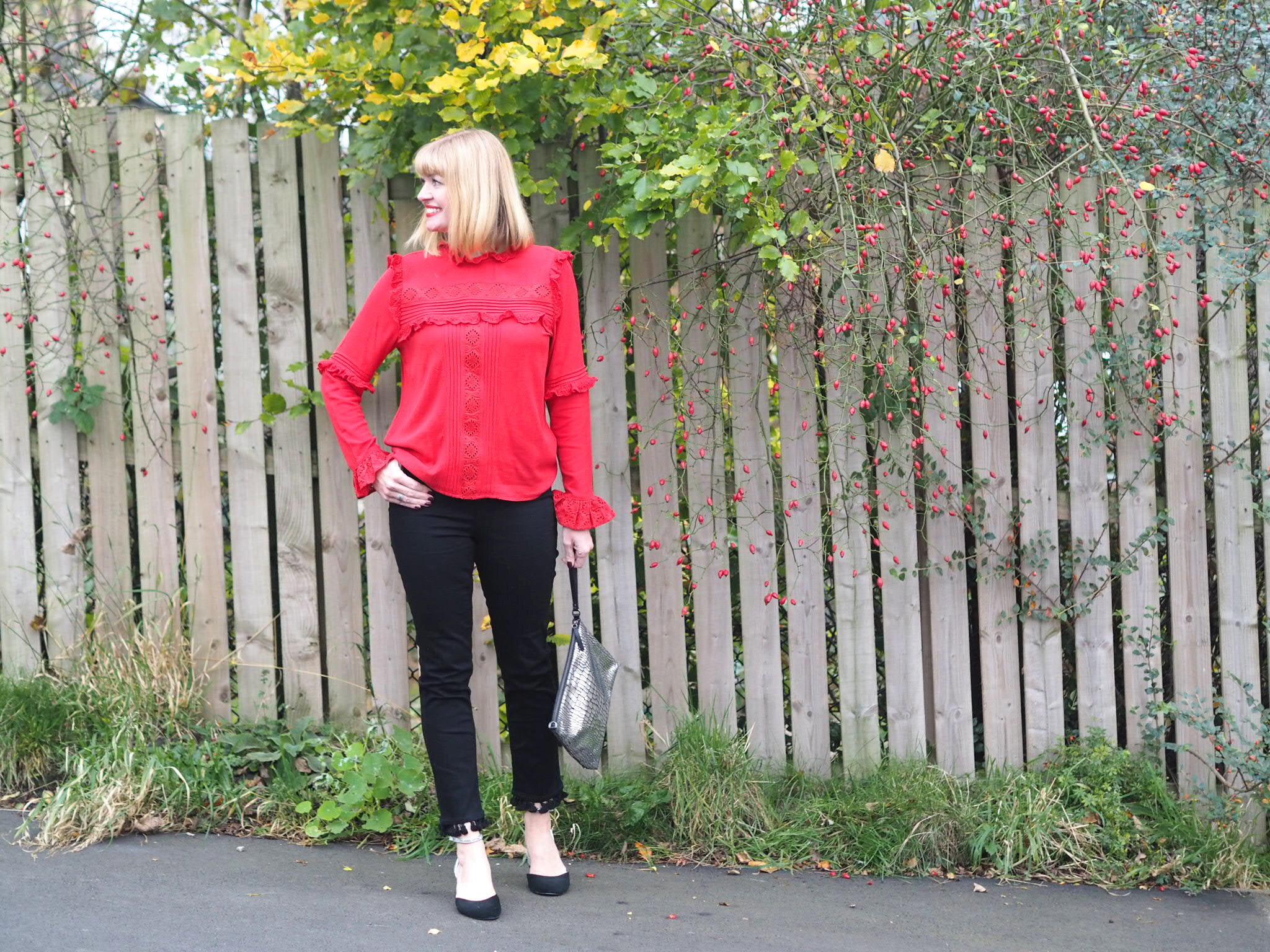 Pom Pom Jeans, A Red Ruffle Blouse And A Touch Of Glitter.