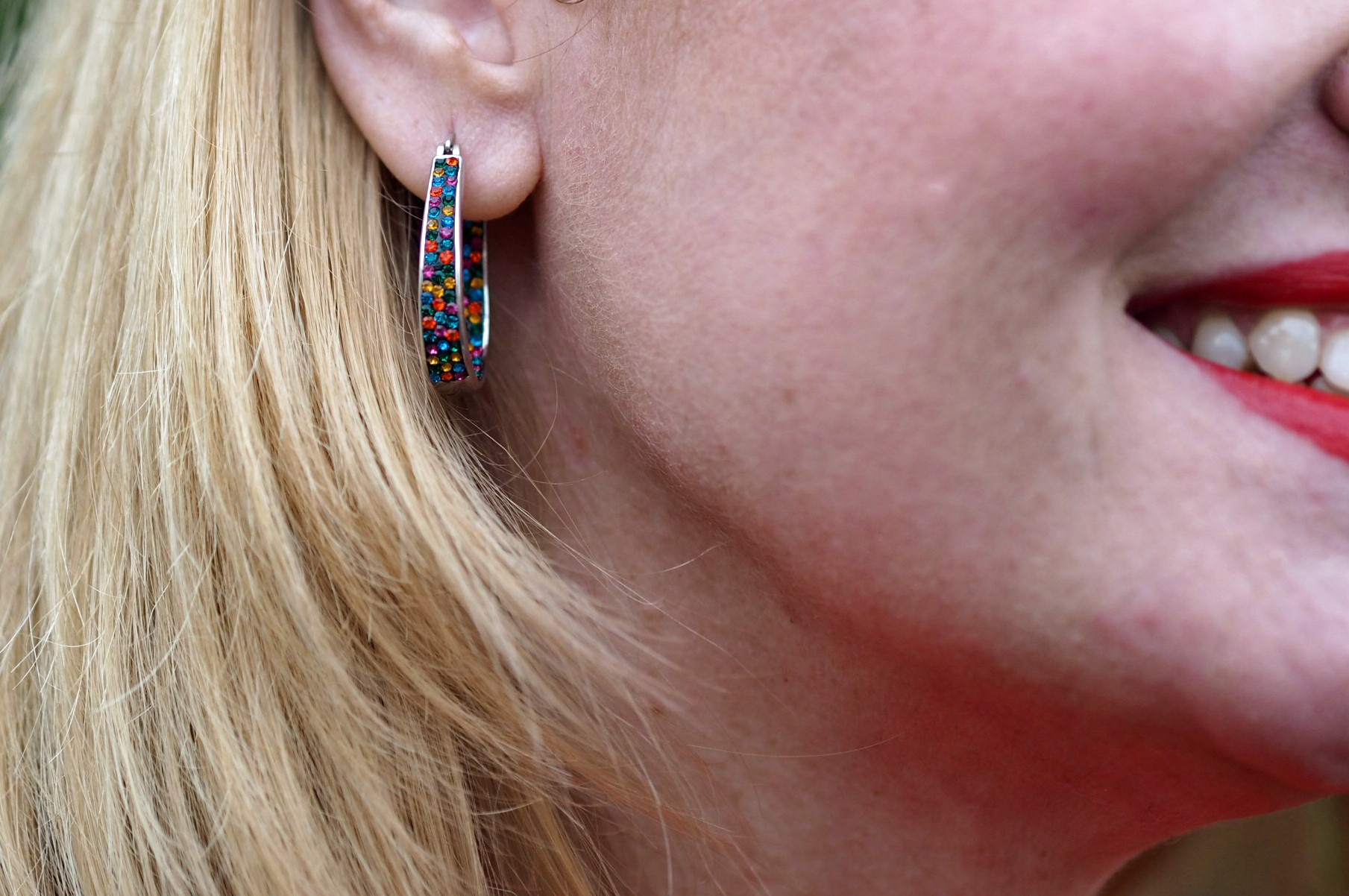what lizzy loves multi coloured diamante hoop earrings