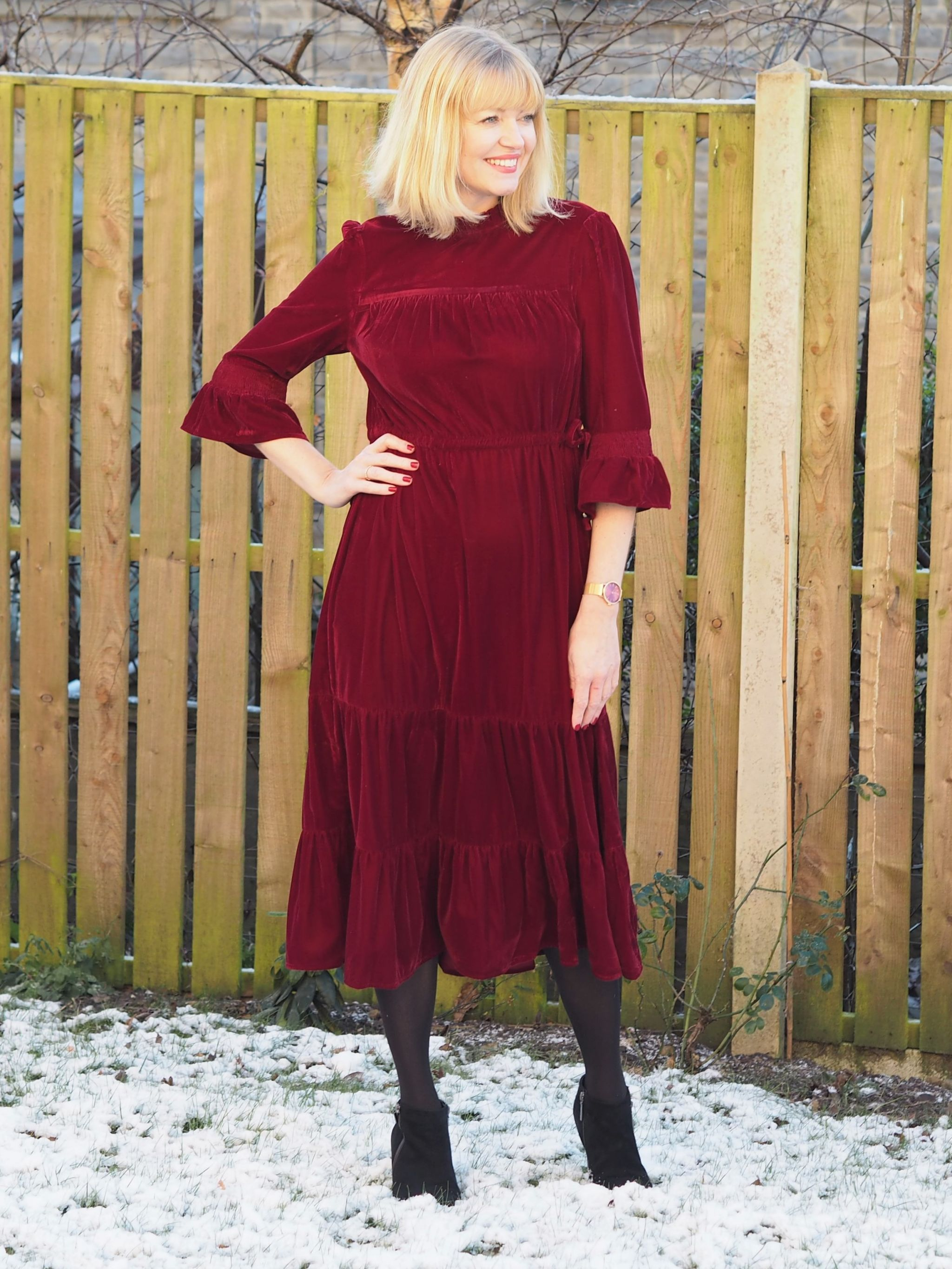 Red Velvet Midi Dress With High Heeled Ankle Boots What