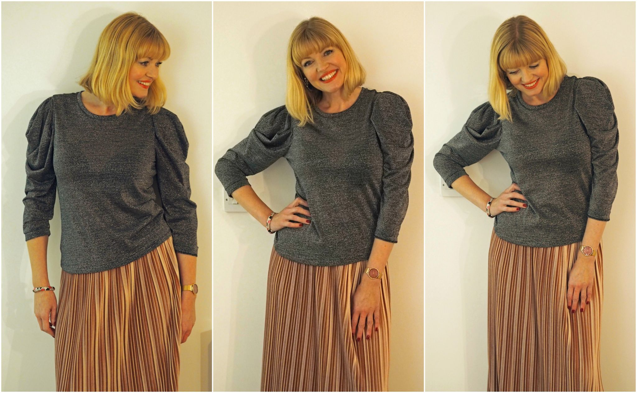 Pink Velvet Pleated Midi Skirt With Metallic Top What Lizzy Loves