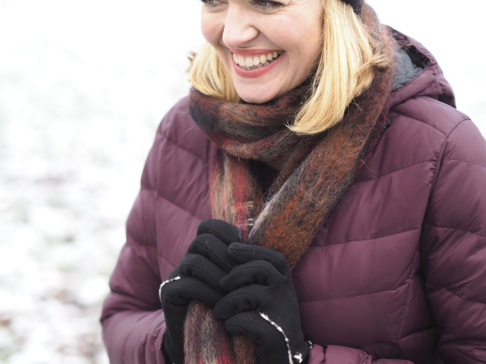 what lizzy loves stylish puffer coat pom pom hat and mohair scarf