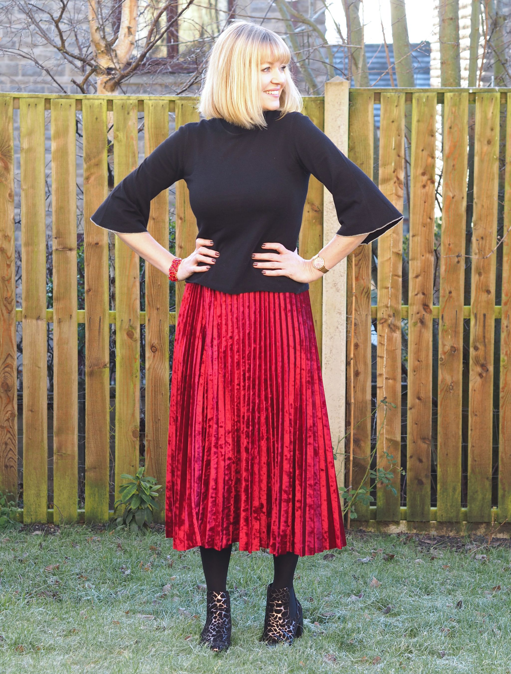 c038f24dc Red Velvet Pleated Skirt And Fluted Sleeve Top - What Lizzy Loves