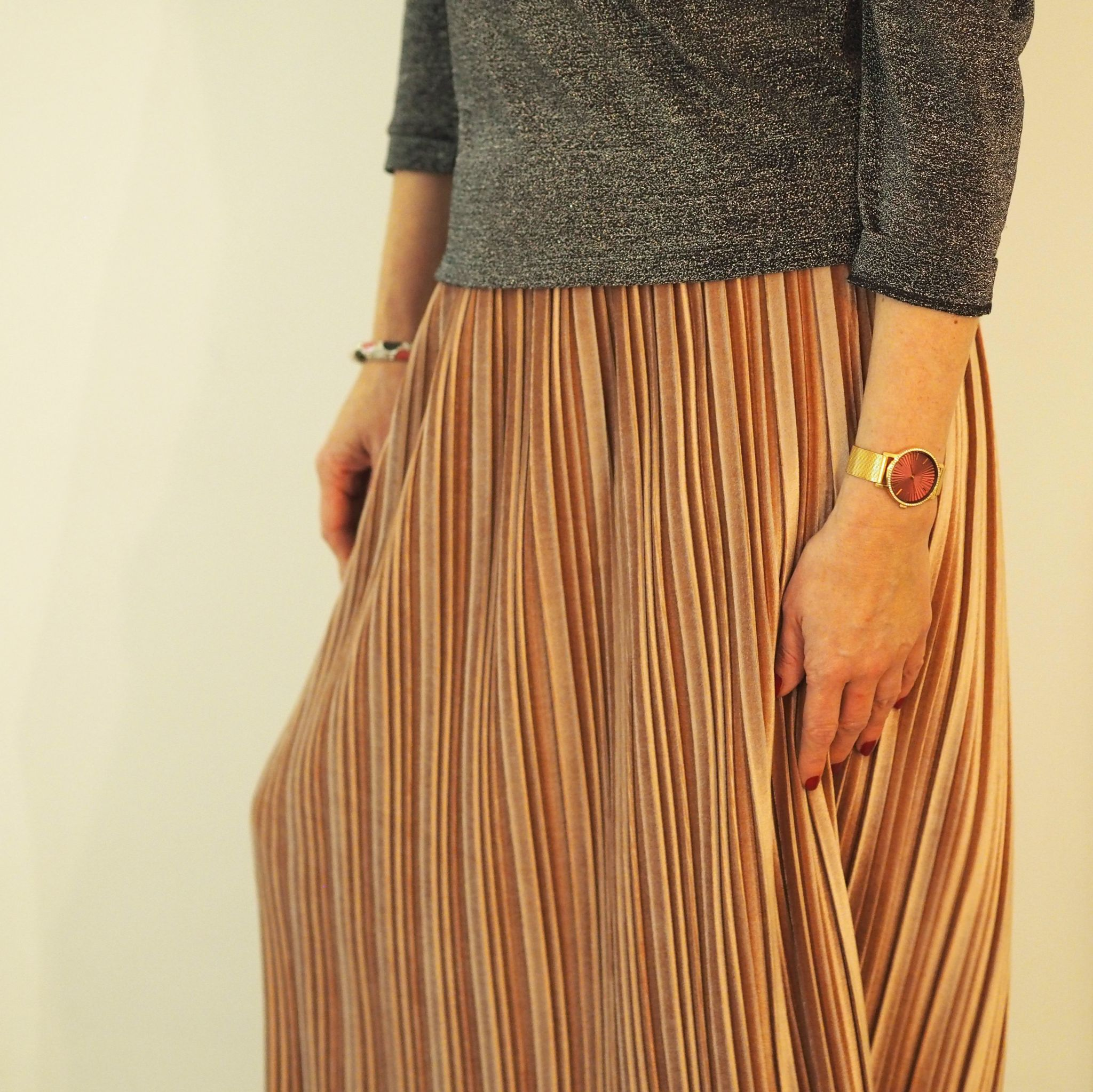 What Lizzy Loves grey sparkly top pink velvet midi skirt