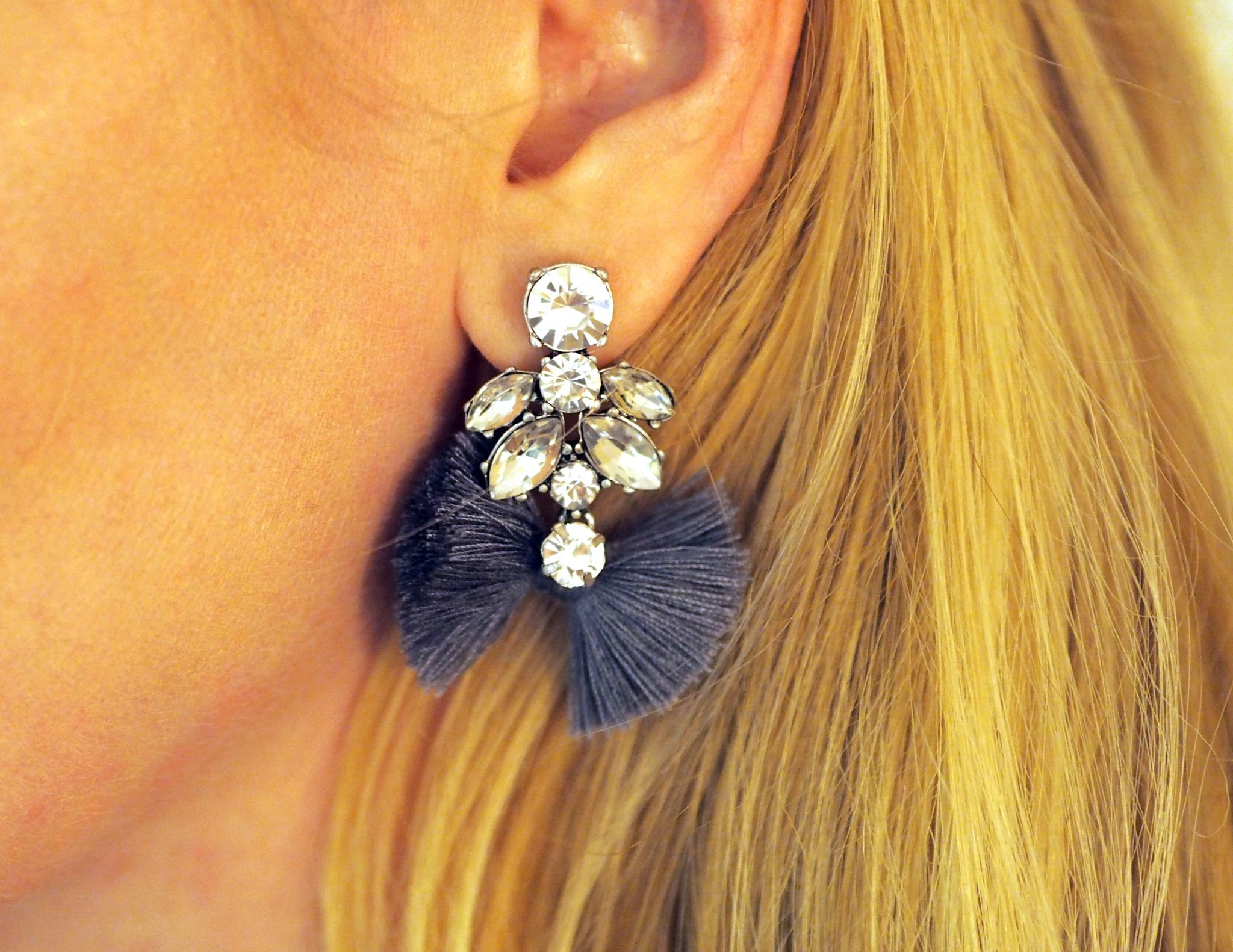 What Lizzy Loves grey tassel earrings close detail