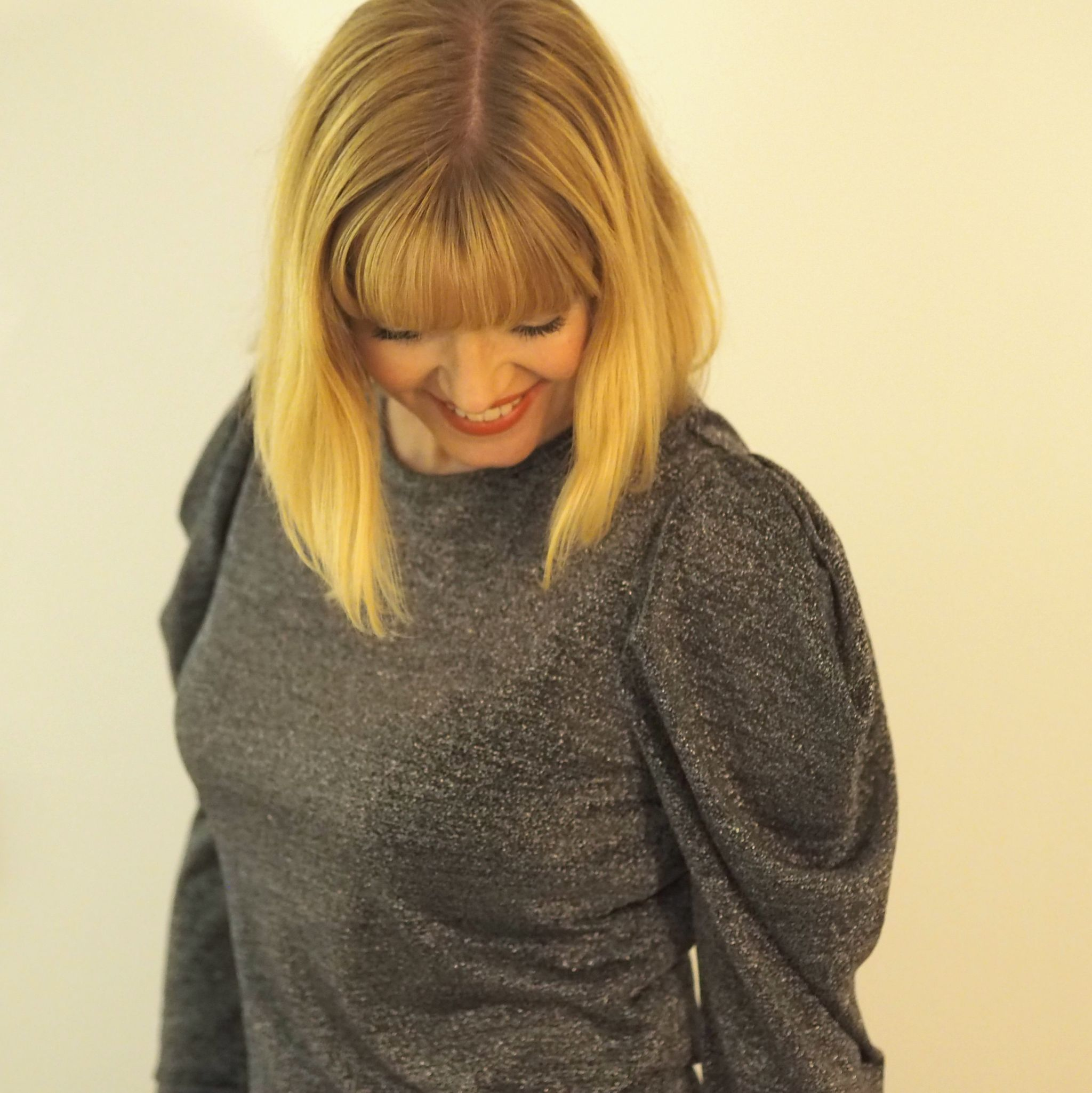 What Lizzy Loves grey metallic top with puffed sleeve