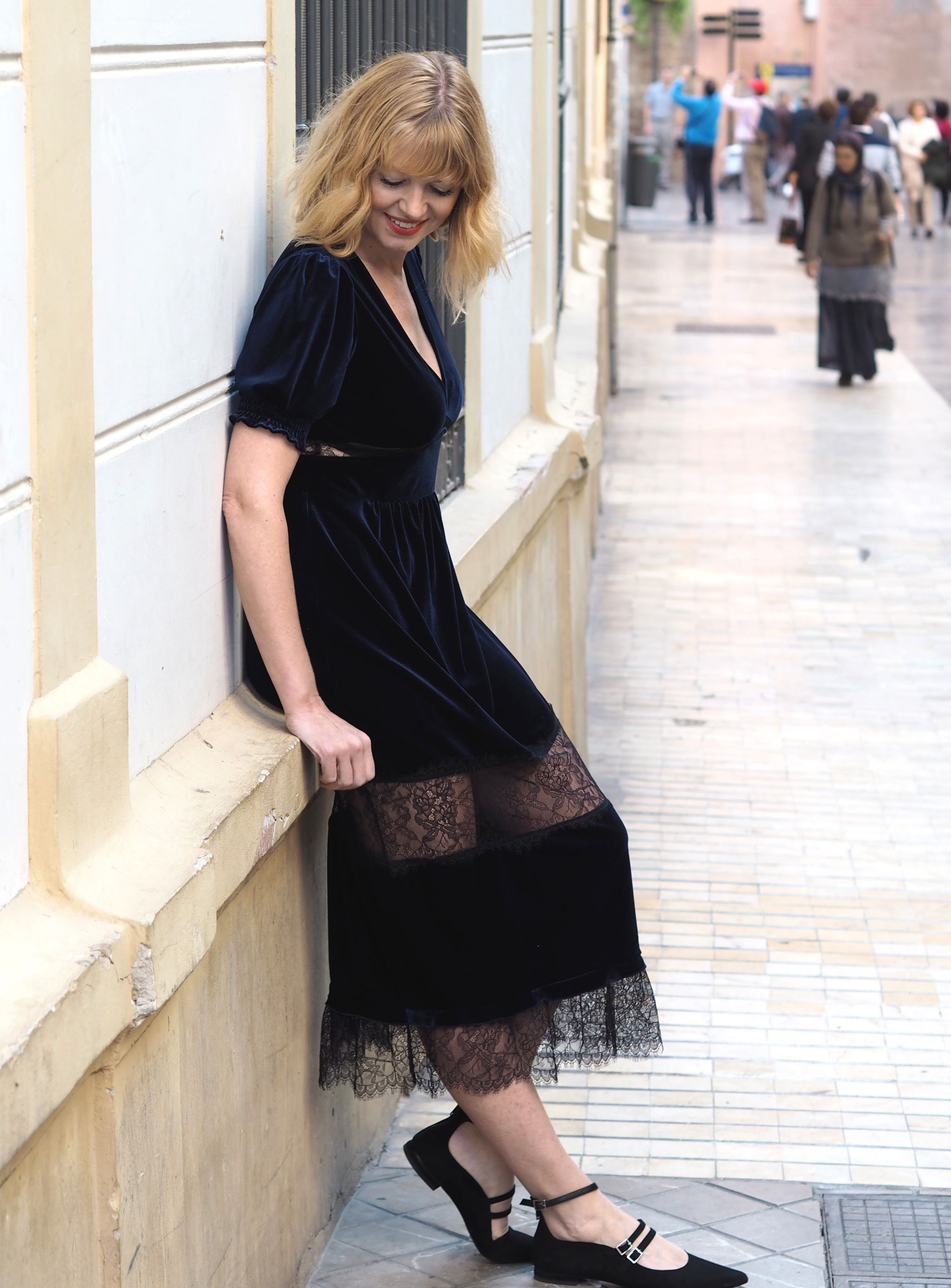 What Lizzy Loves velvet and lace panel dress