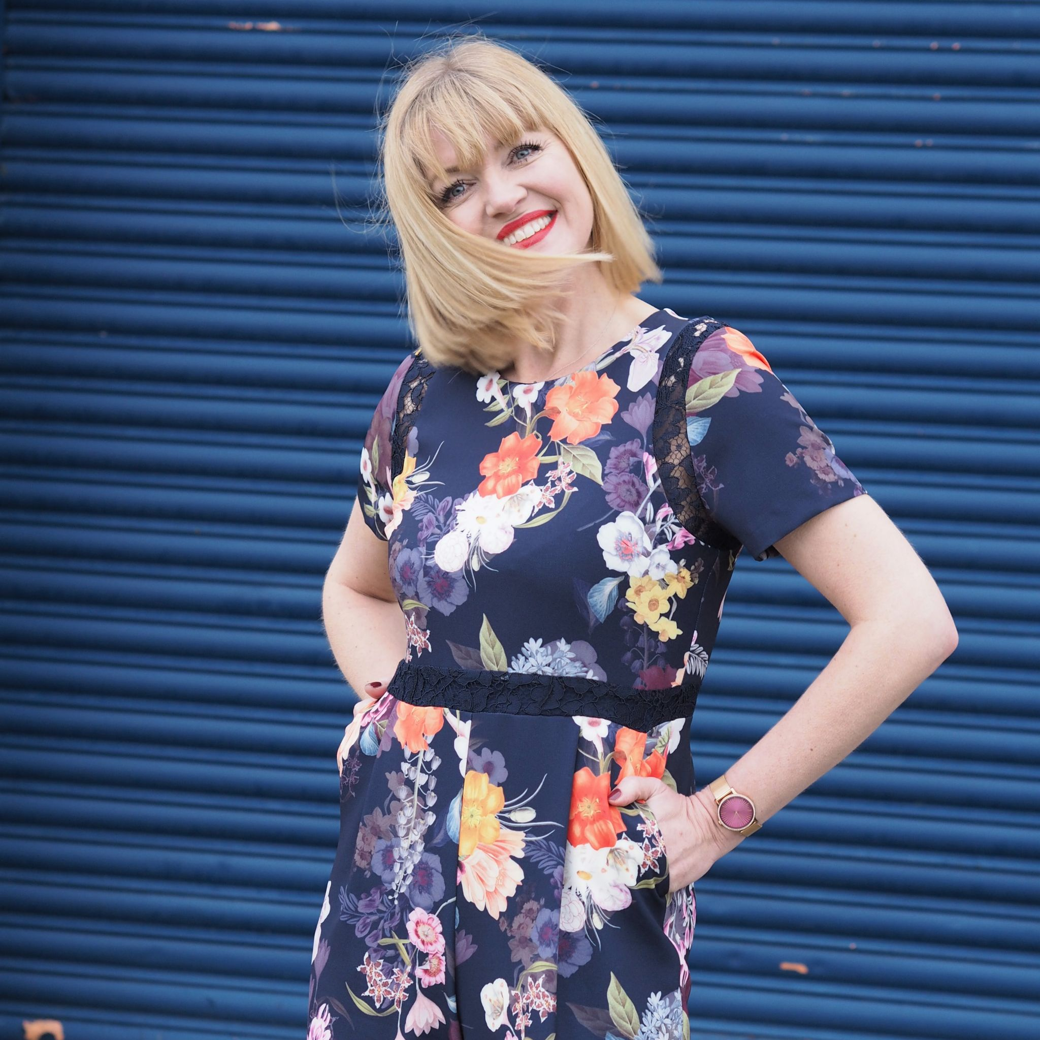 What Lizzy Loves spring trends bold colour floral jumpsuit lace detail