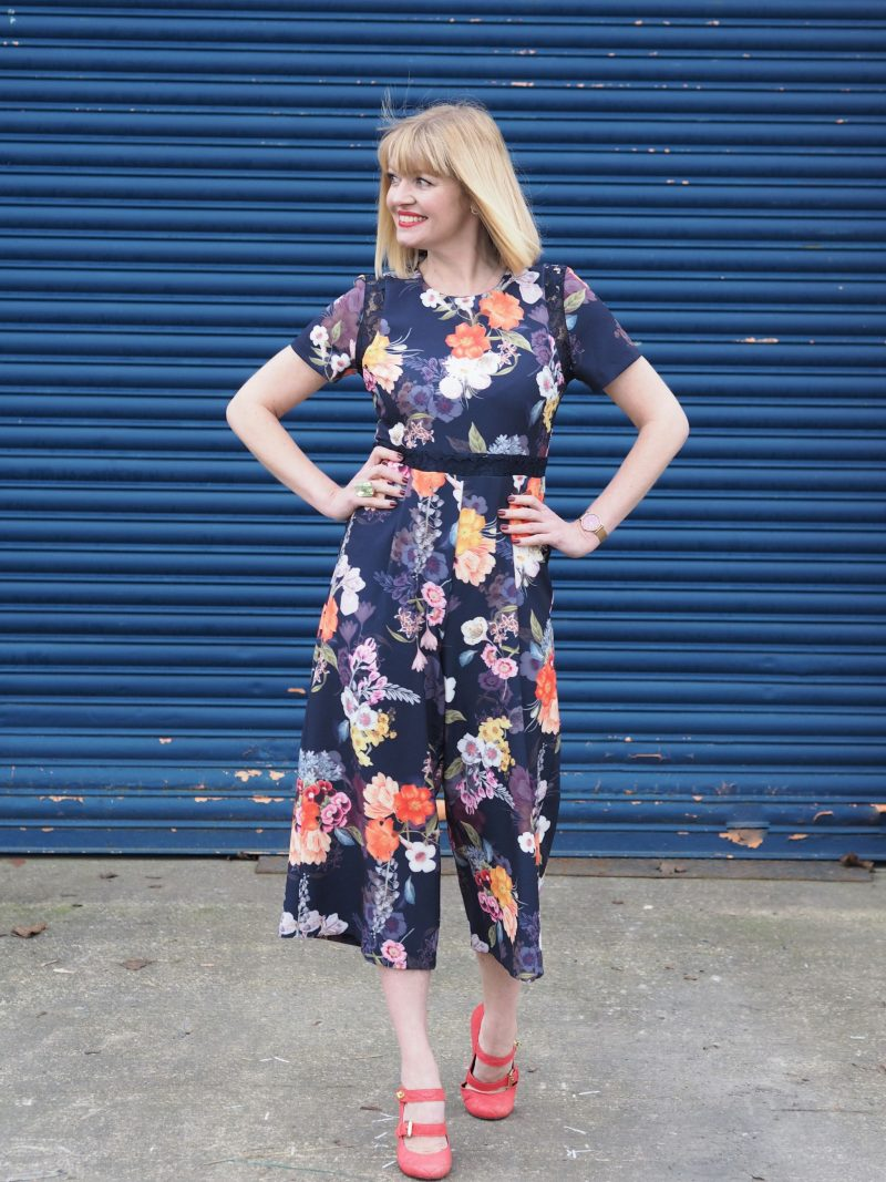 What Lizzy Loves spring trends bold colour floral jumpsuit orange shoes green ring