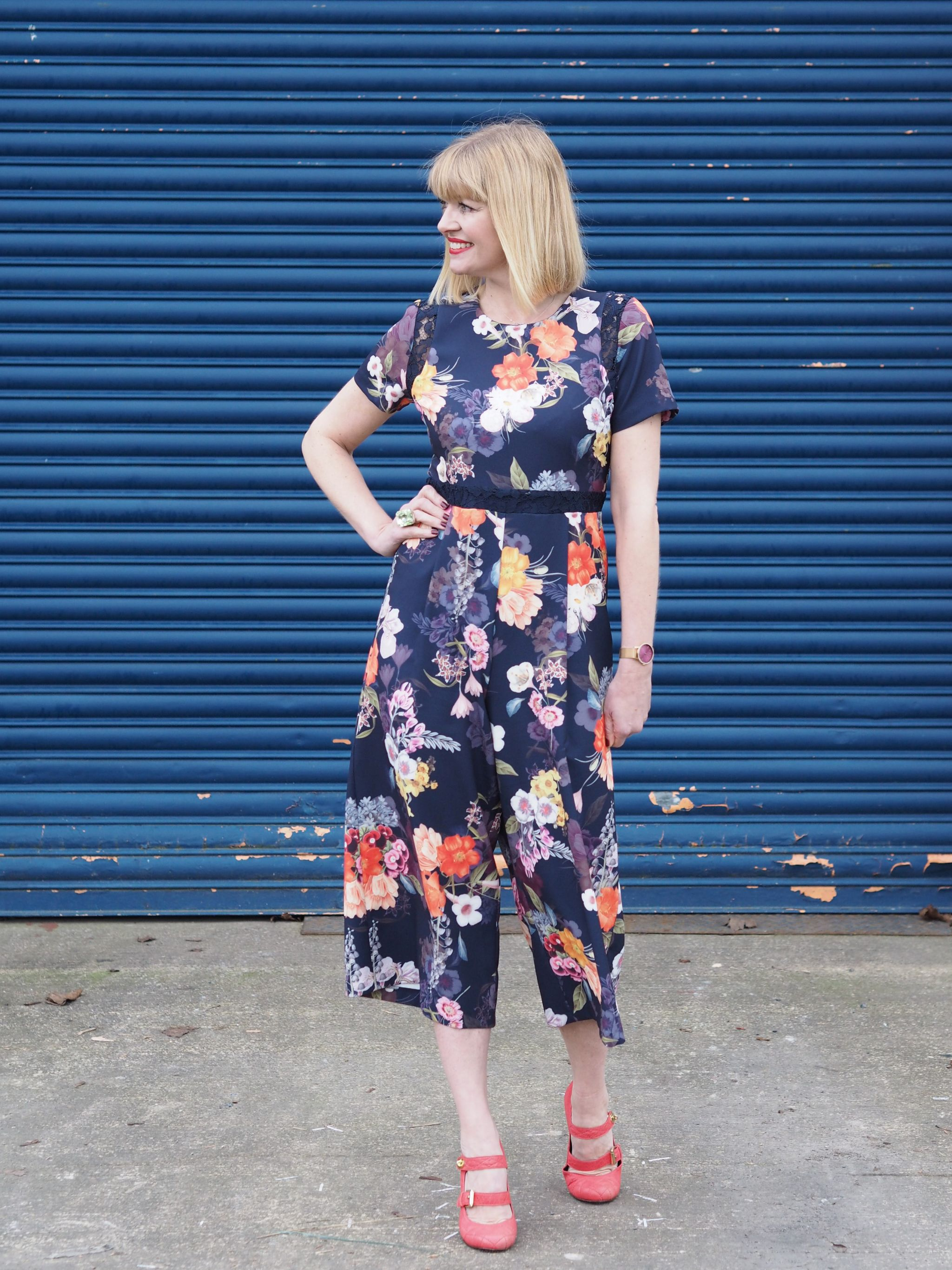 What Lizzy Loves spring trends bold colour floral jumpsuit orange strappy shoes