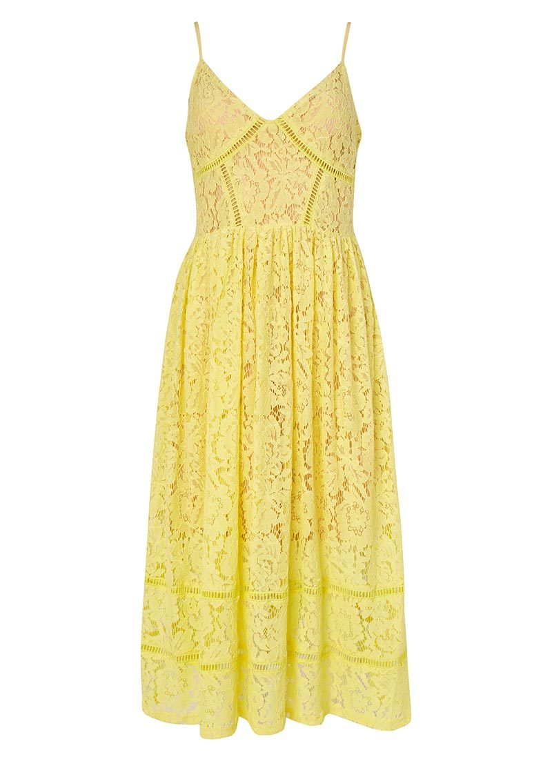 what lizzy loves yellow lace midi dress