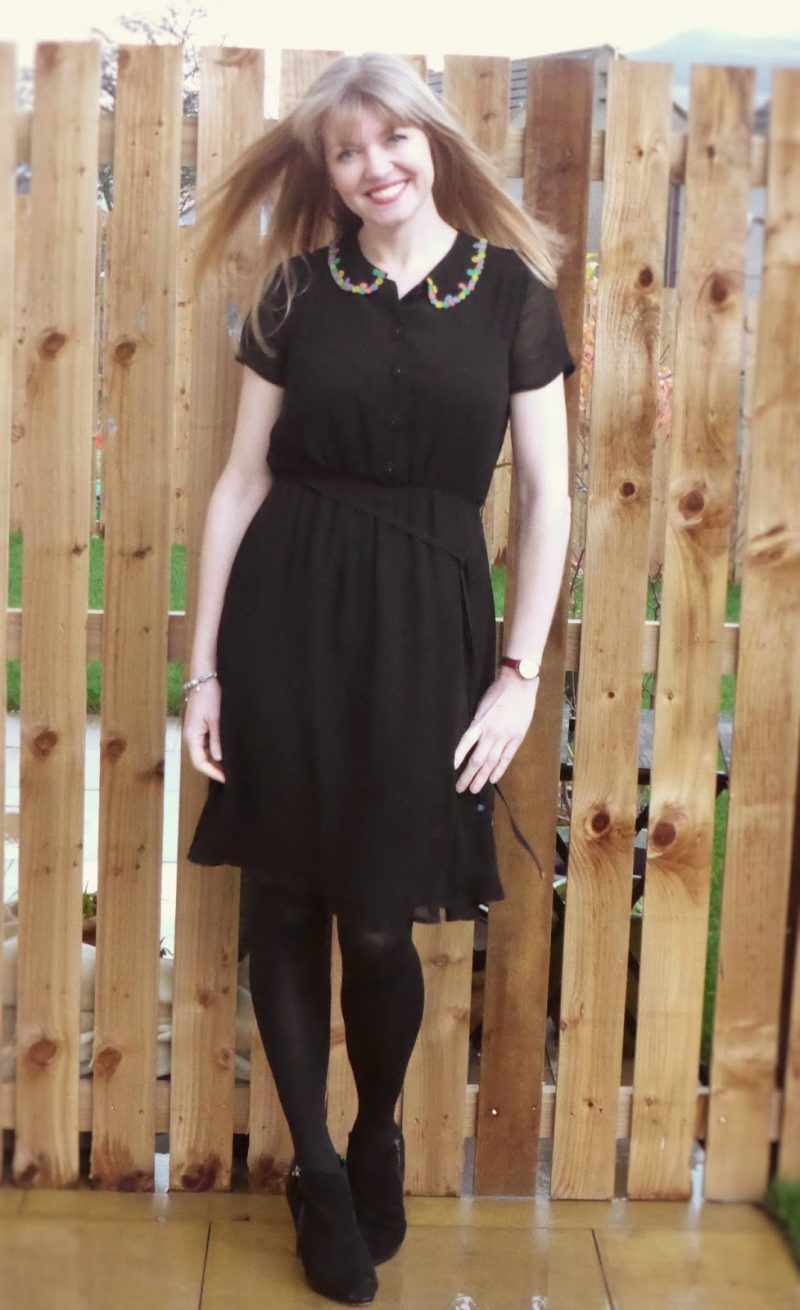 Alium B black dress with beaded collar