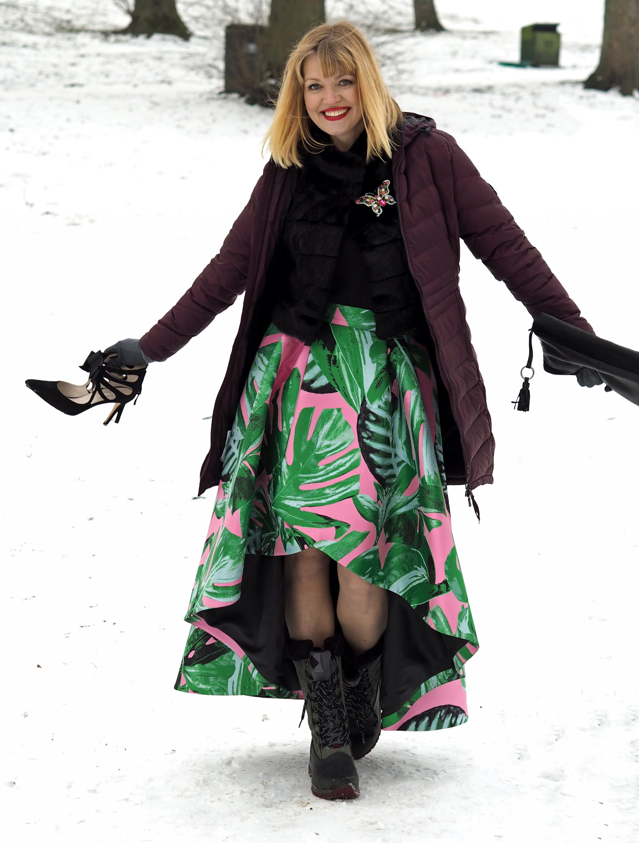 what lizzy loves green and pink party skirt faux fur jacket snow coat wellies