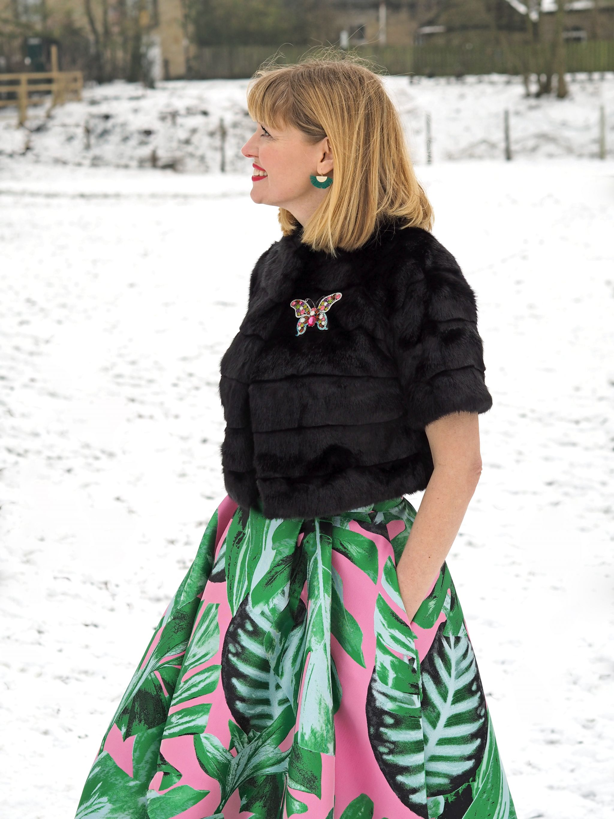 what lizzy loves green and pink party skirt faux fur jacket snow green earrings