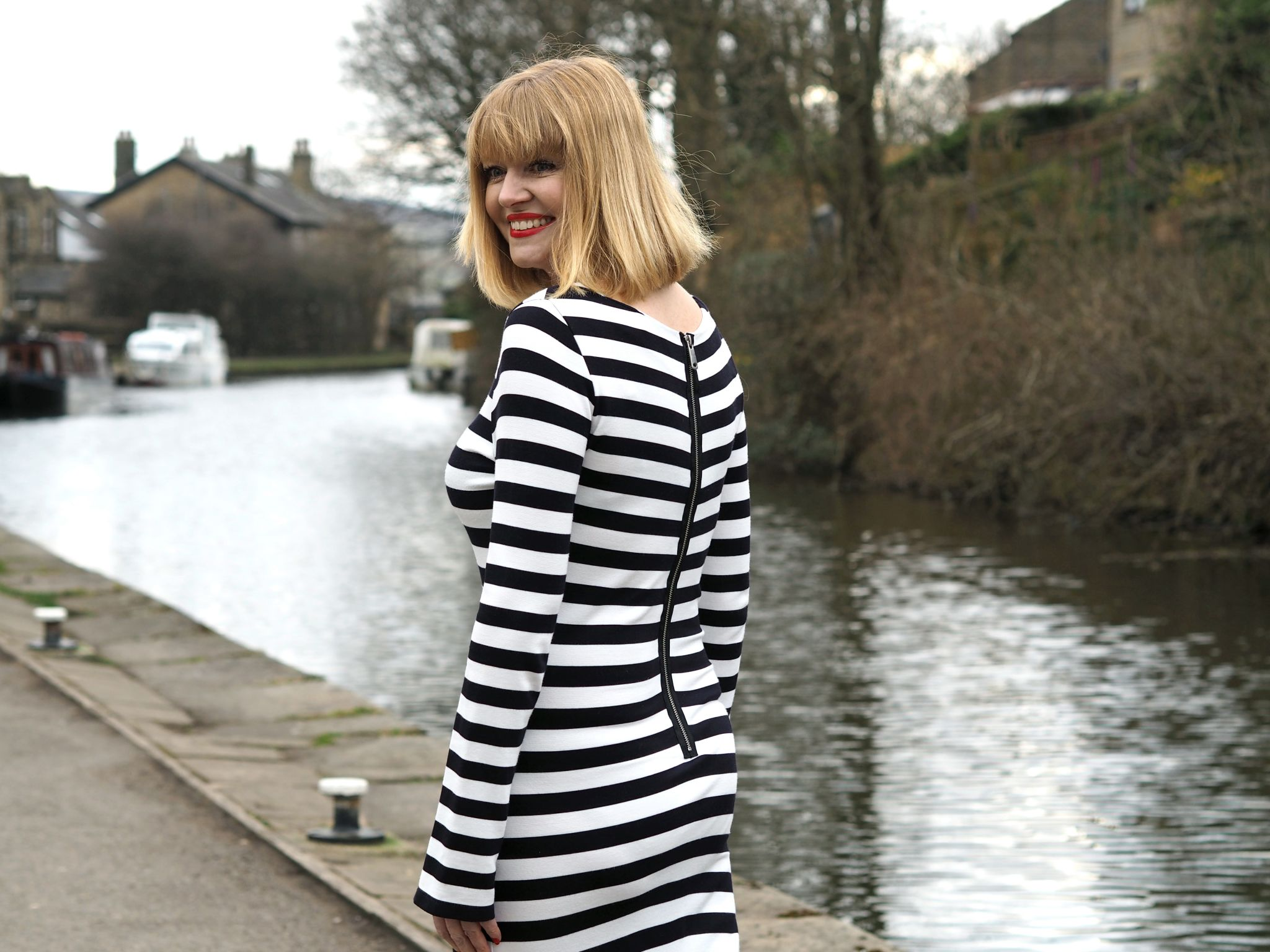 What Lizzy Loves black striped godet dress back zip detail