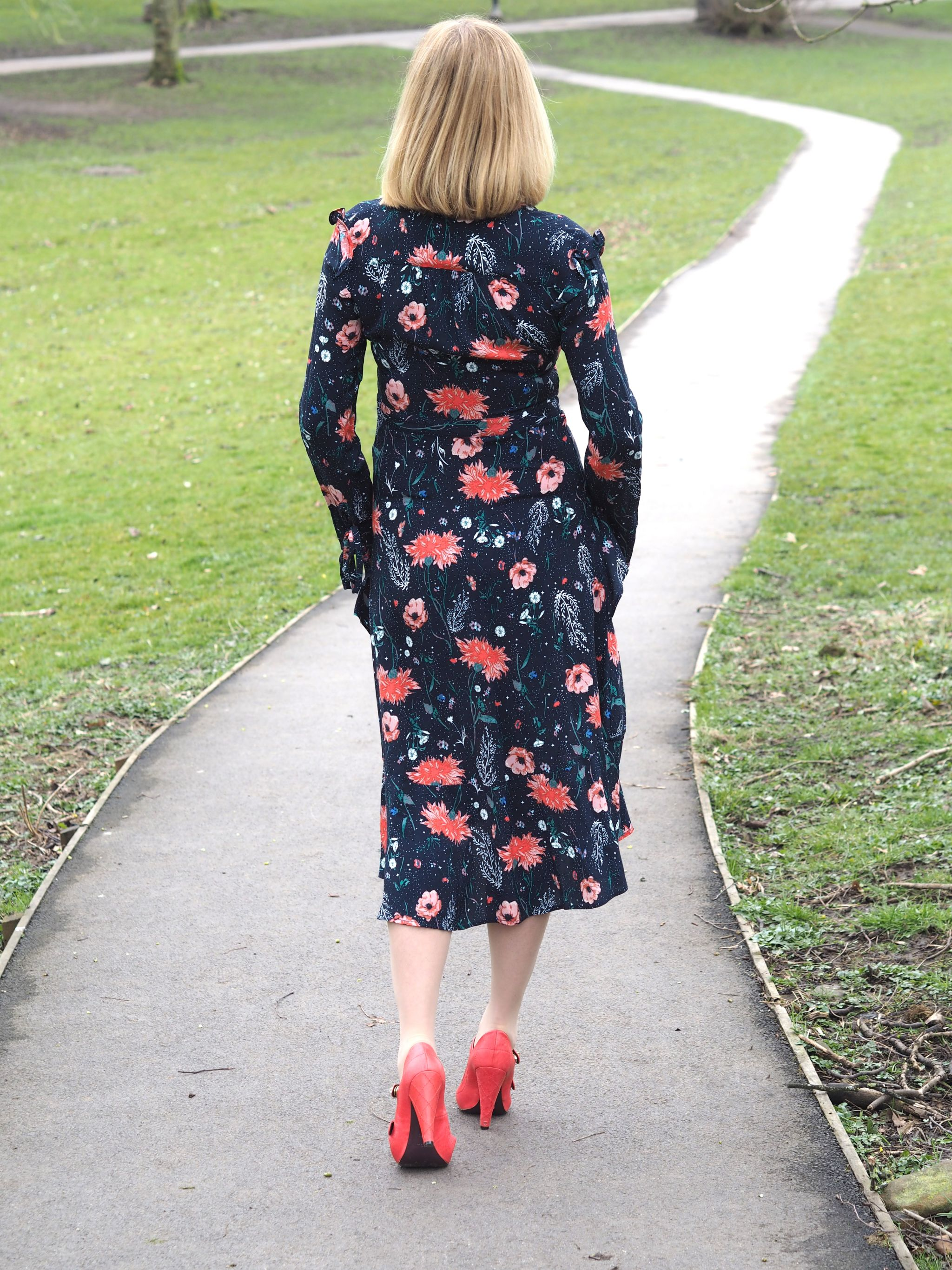 what lizzy loves floral midi dress orange shoes back view