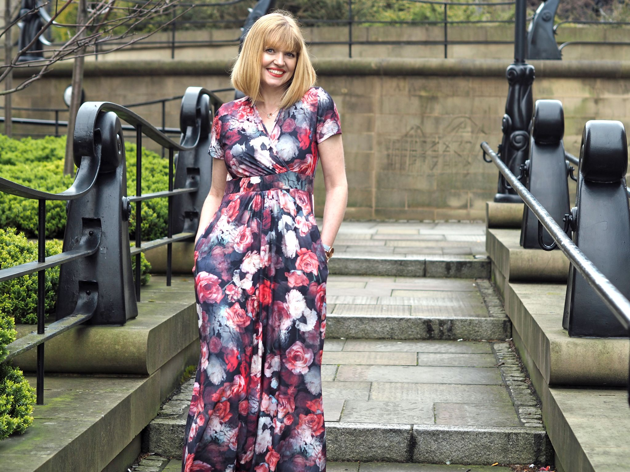 what Lizzy Loves hotsquash floral maxi dress