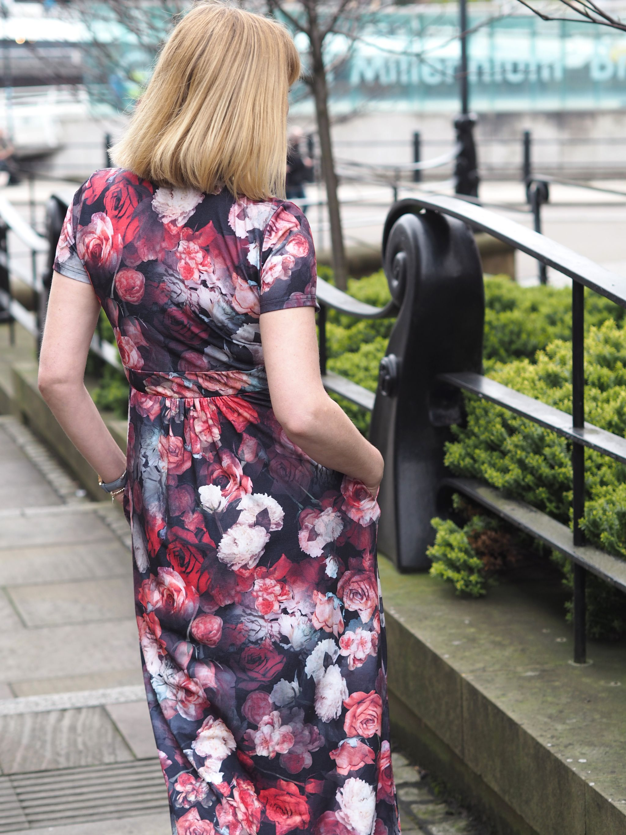 What Lizzy Loves floral maxi dress back view