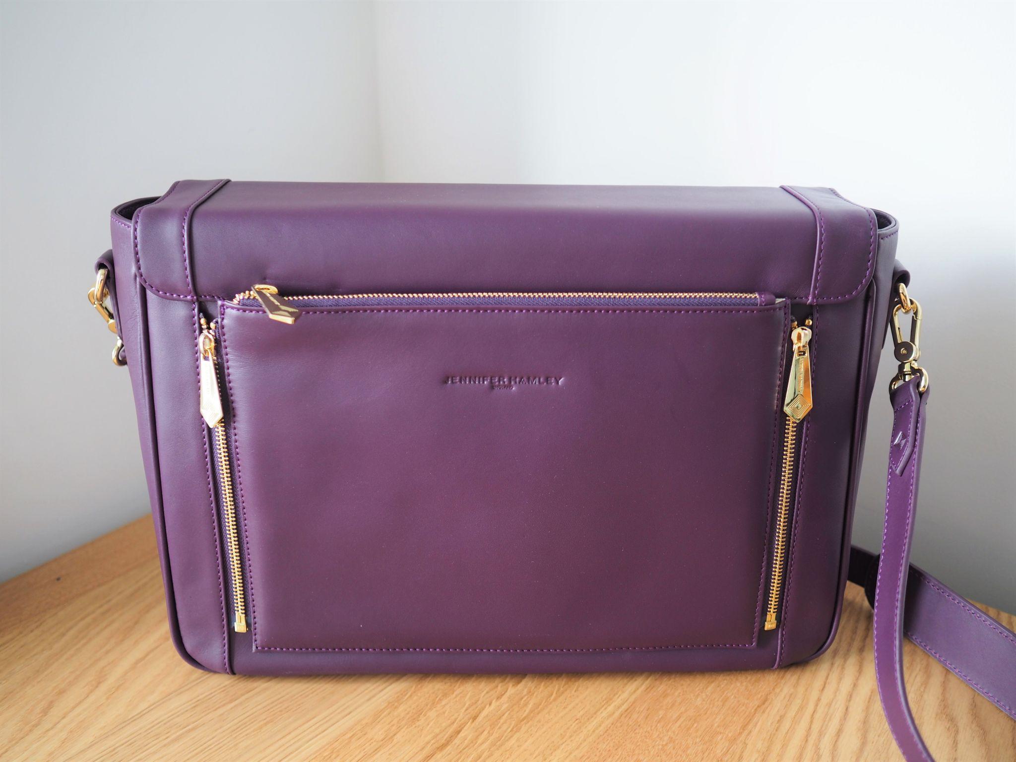 what-lizzy-loves-jennifer hamley-model-kt-laptop-work-bag-purple-leather