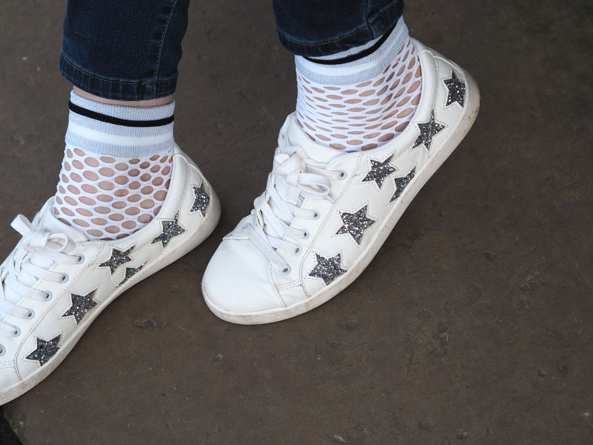 what lizzy loves white and silver glitter star trainers fishnet socks