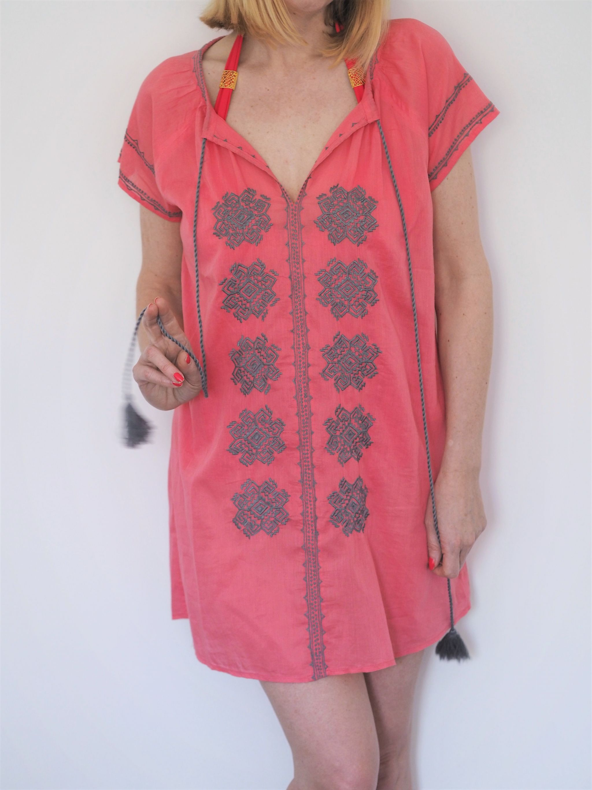 what Lizzy Loves coral beach dress cover up