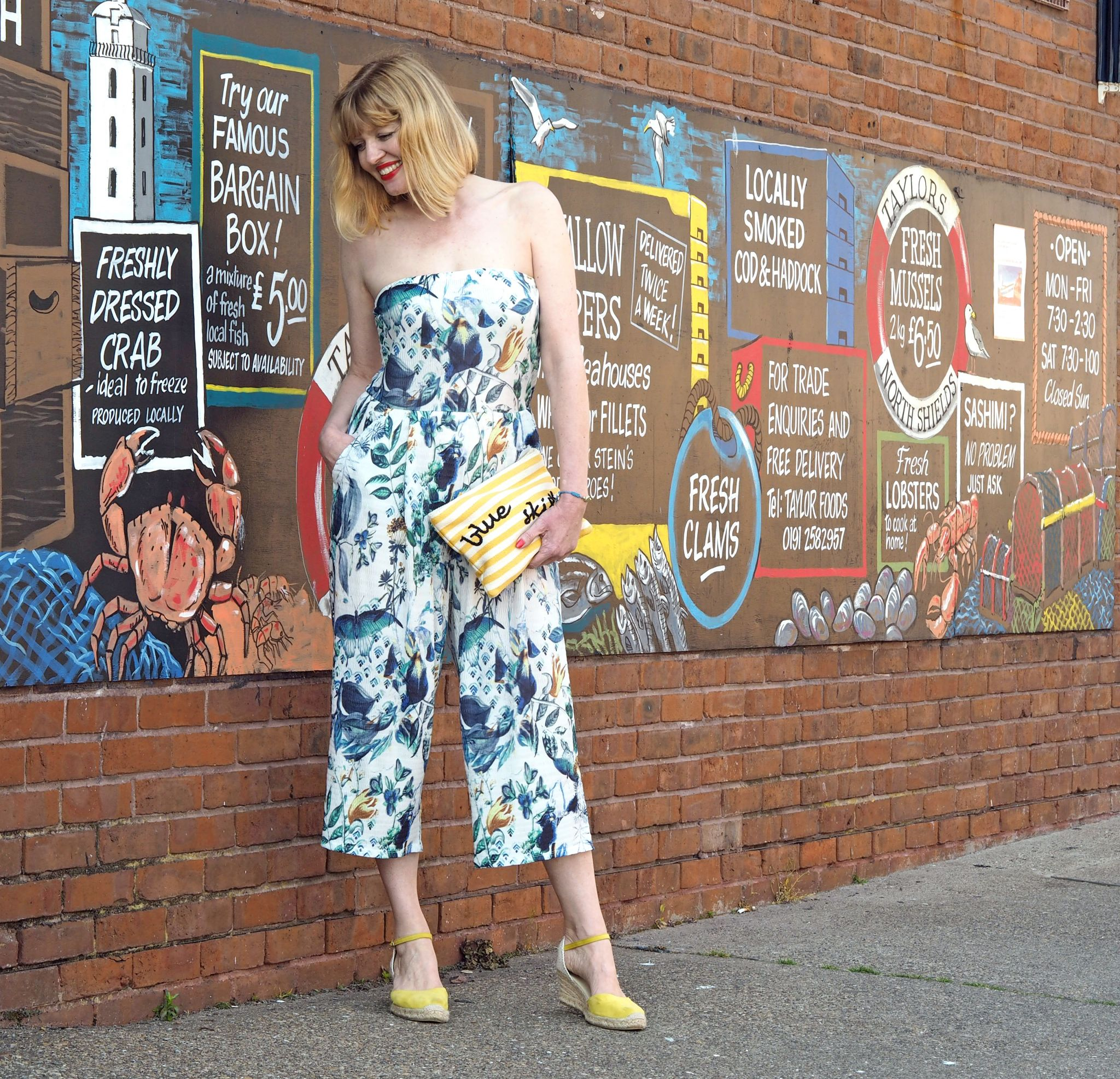 what lizzy loves floral jumpsuit blue skies pouch north shields fish graffitti wall