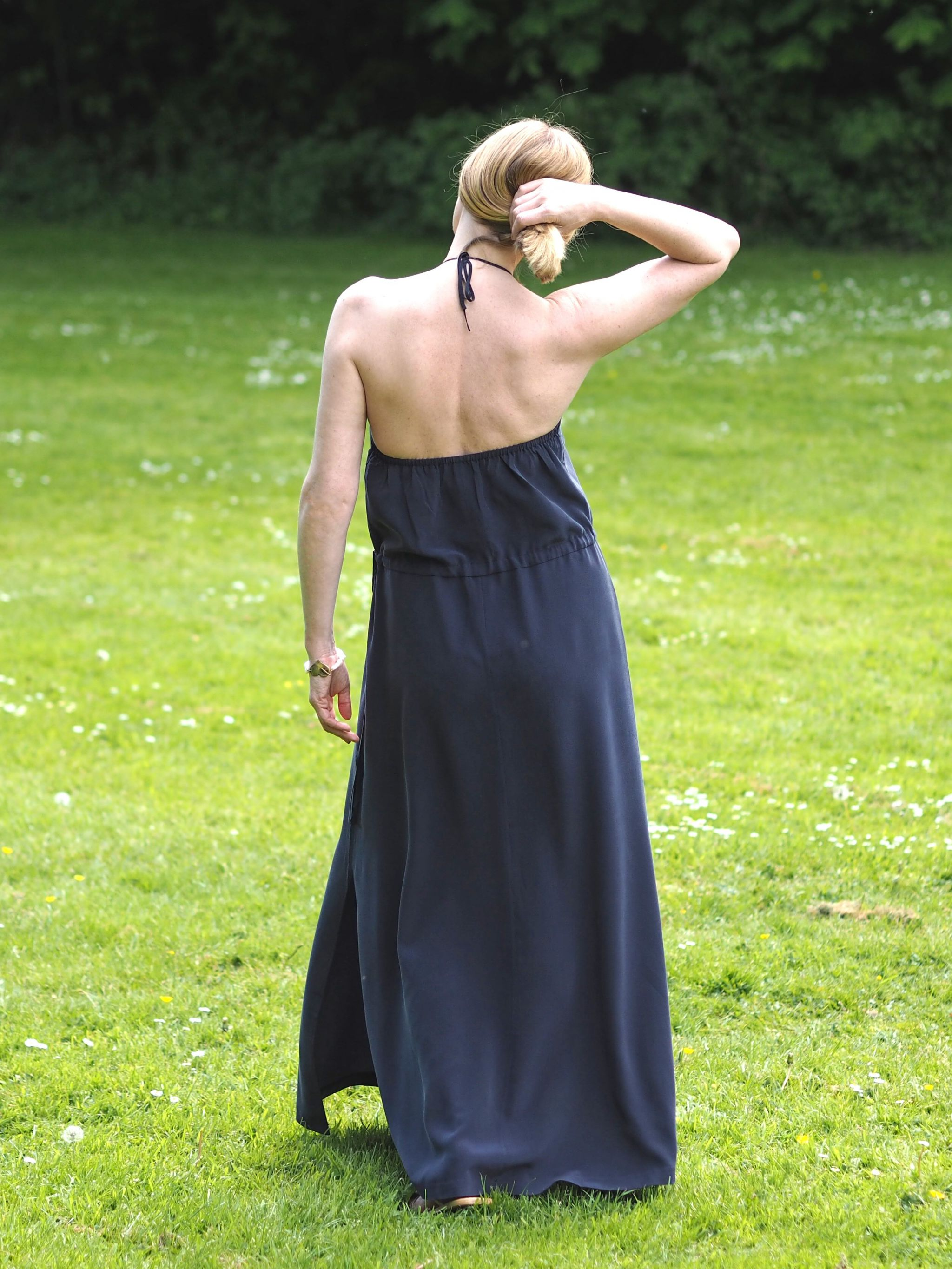 what Lizzy loves silk navy maxi dress back view