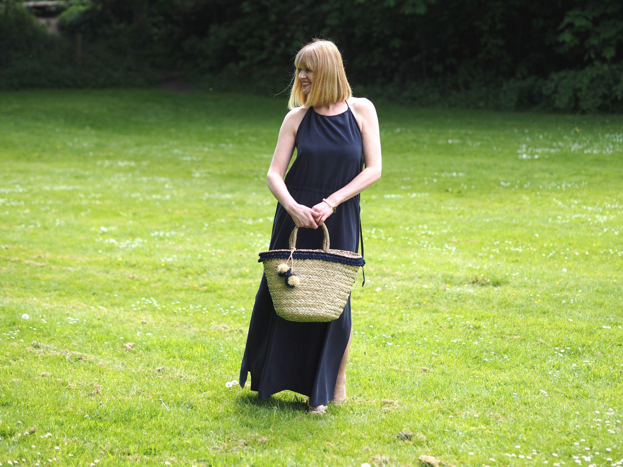 what Lizzy loves silk navy maxi dress pom pom basket
