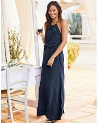 Navy silk maxi dress