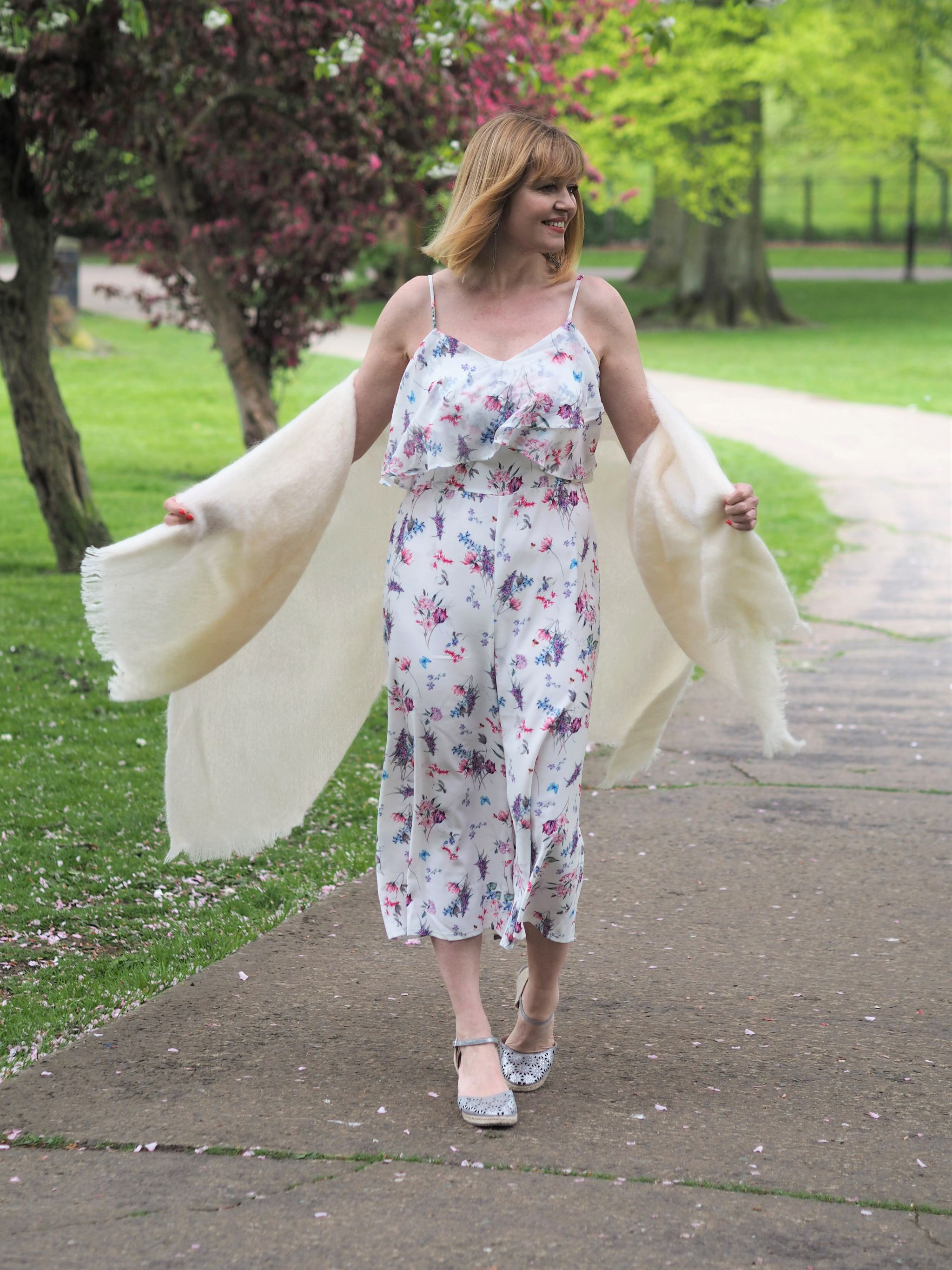 what Lizzy loves floaty floral jumpsuit cream serape